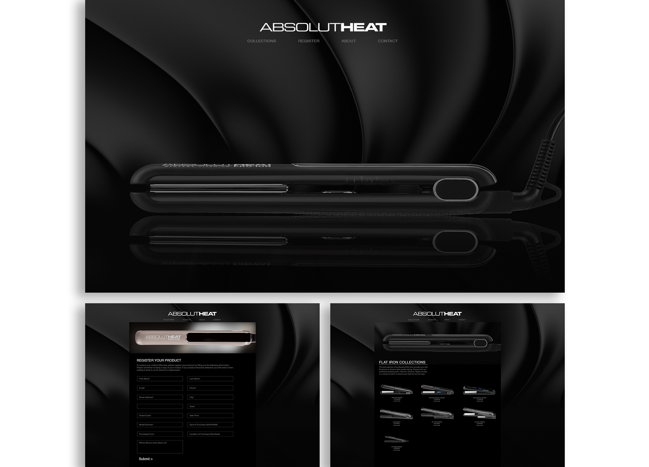 Web design for beauty products brand, AbsolutHeat, in black with hero image and other pages featuring their flat iron tools.