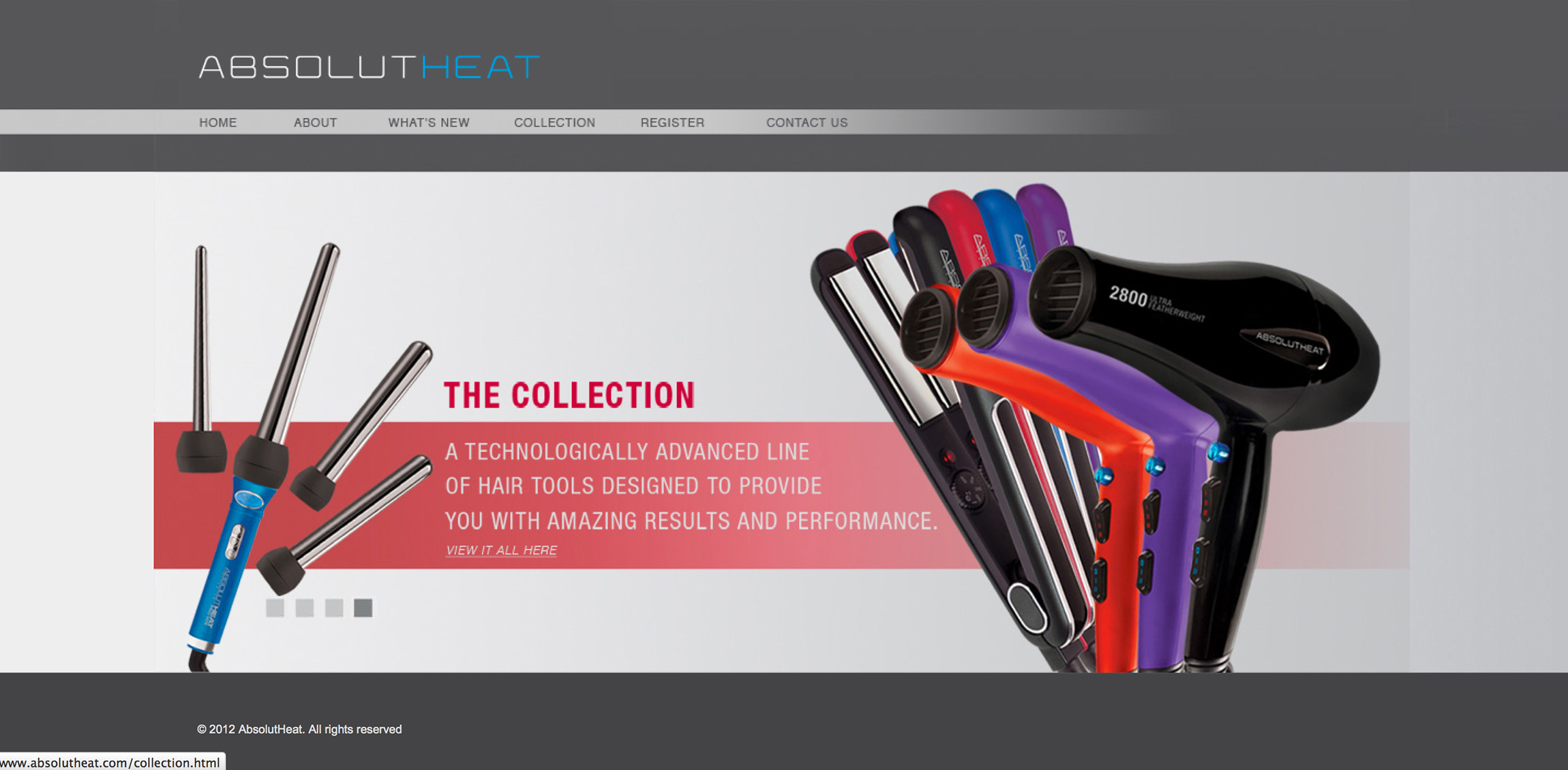 AbsolutHeat website homepage redesign showcasing a collection of hot tools in header.