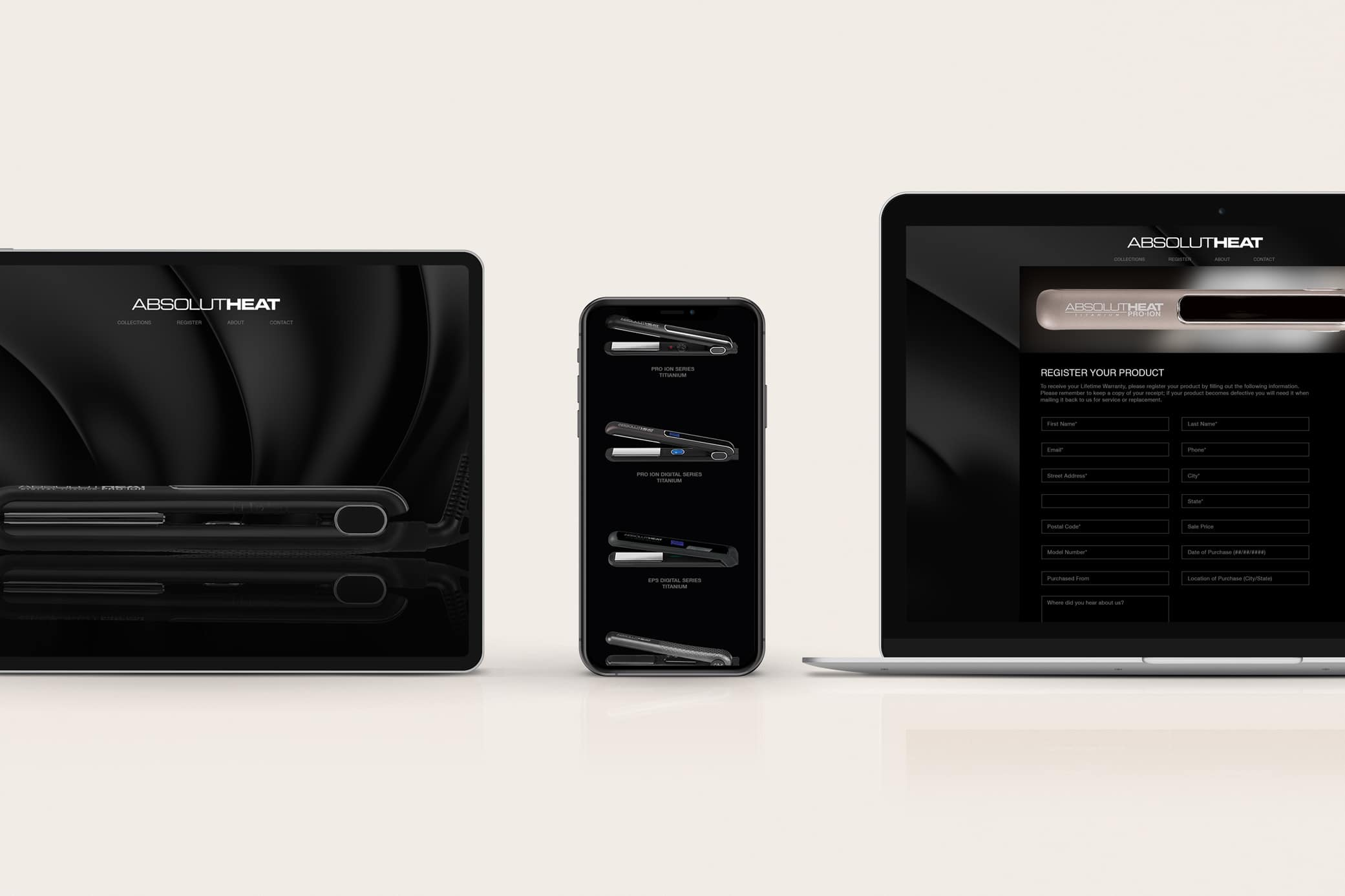 Beauty products web design, AbsolutHeat, showcasing its homepage in black with hero image and other pages featuring their flat iron tools.