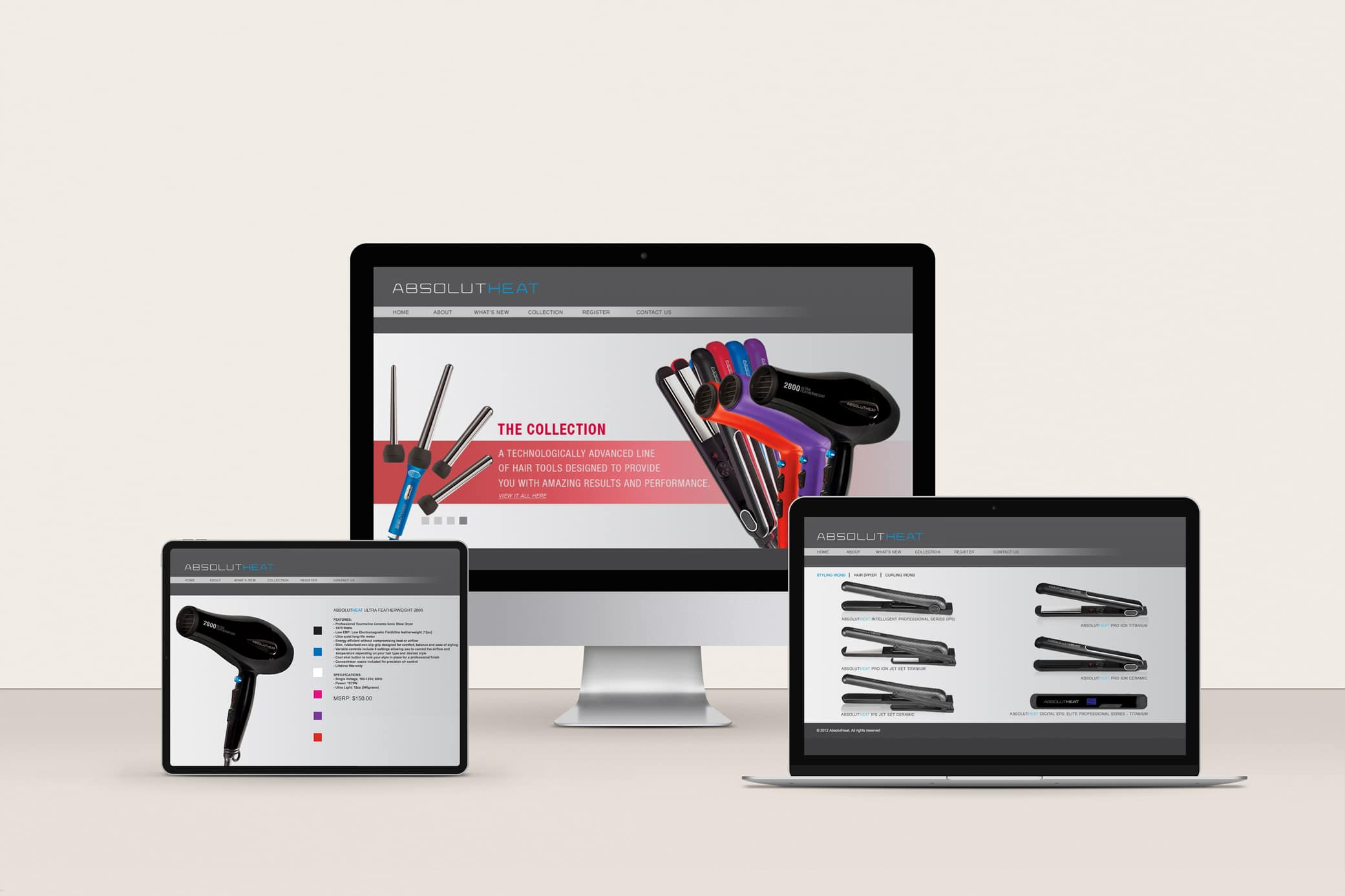 AbsolutHeat website design shown before the redesign with hair tools collection in header.