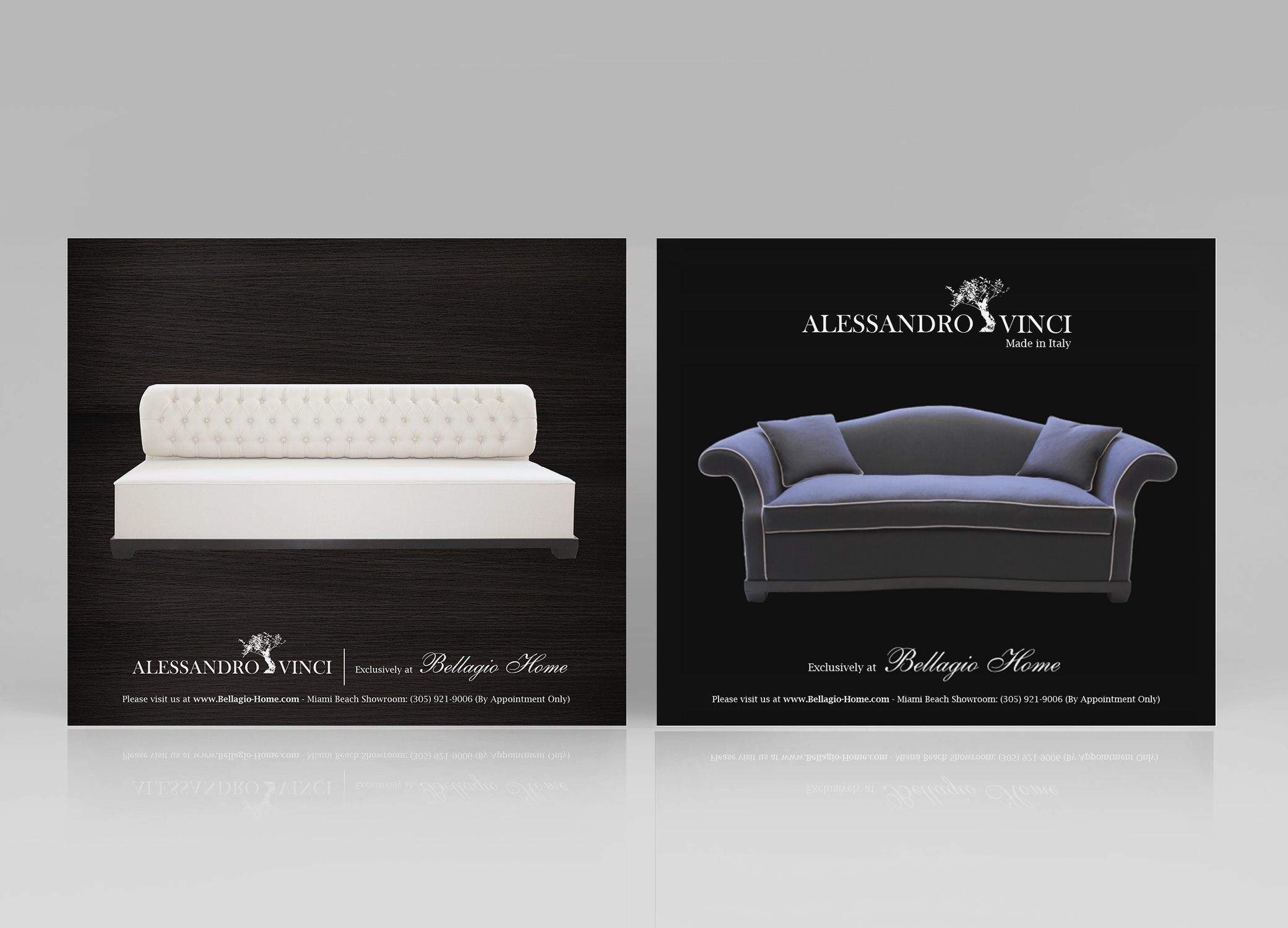 Bellagio Home Ad designs for American Lifestyle magazine, featuring white and dark blue couches against back paper.