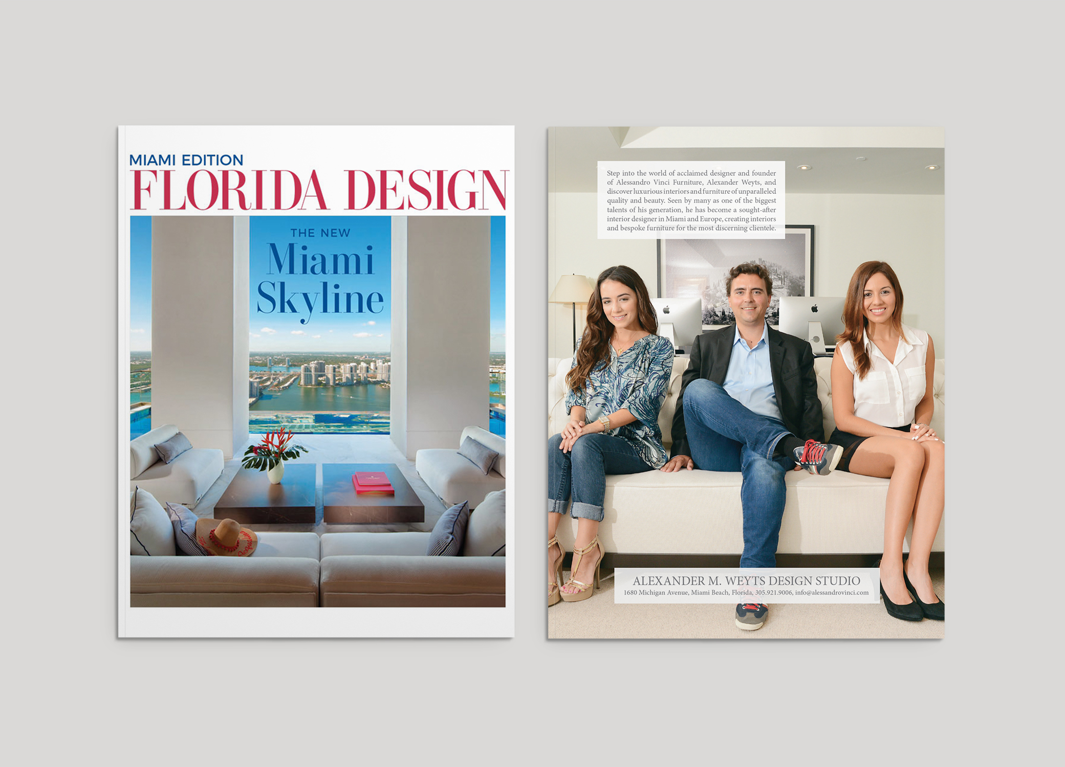 Bellagio Home design for Florida Magazine front cover and inside featured page design against grey backdrop.