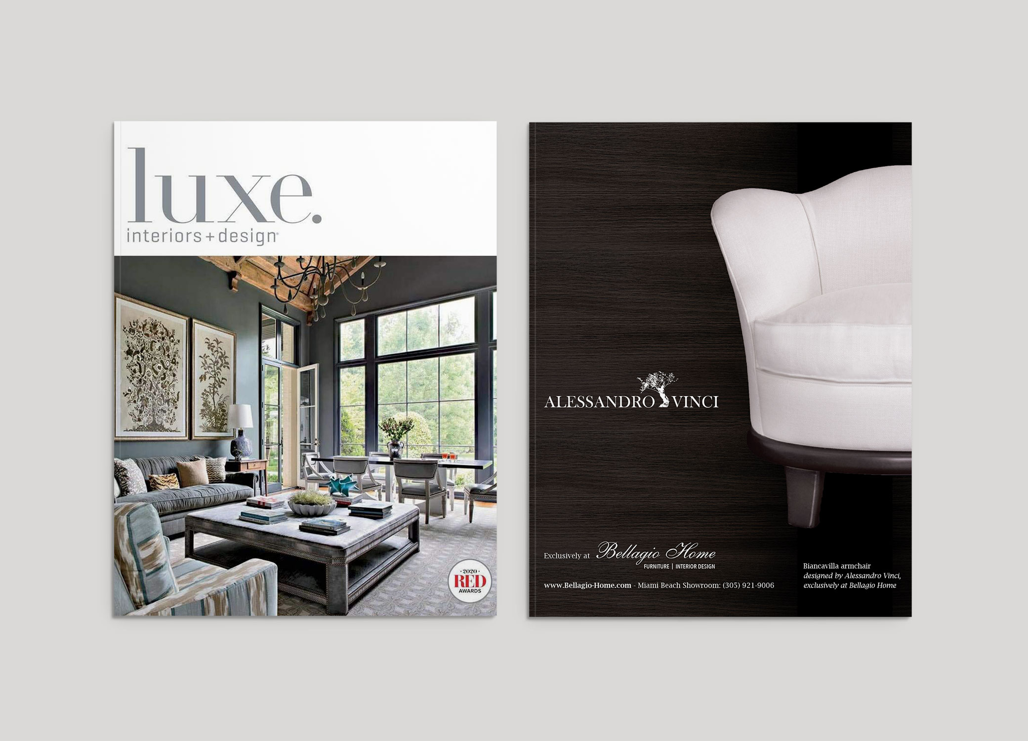 Bellagio Home design for Luxe Magazine front cover and inside featured page design against grey backdrop.