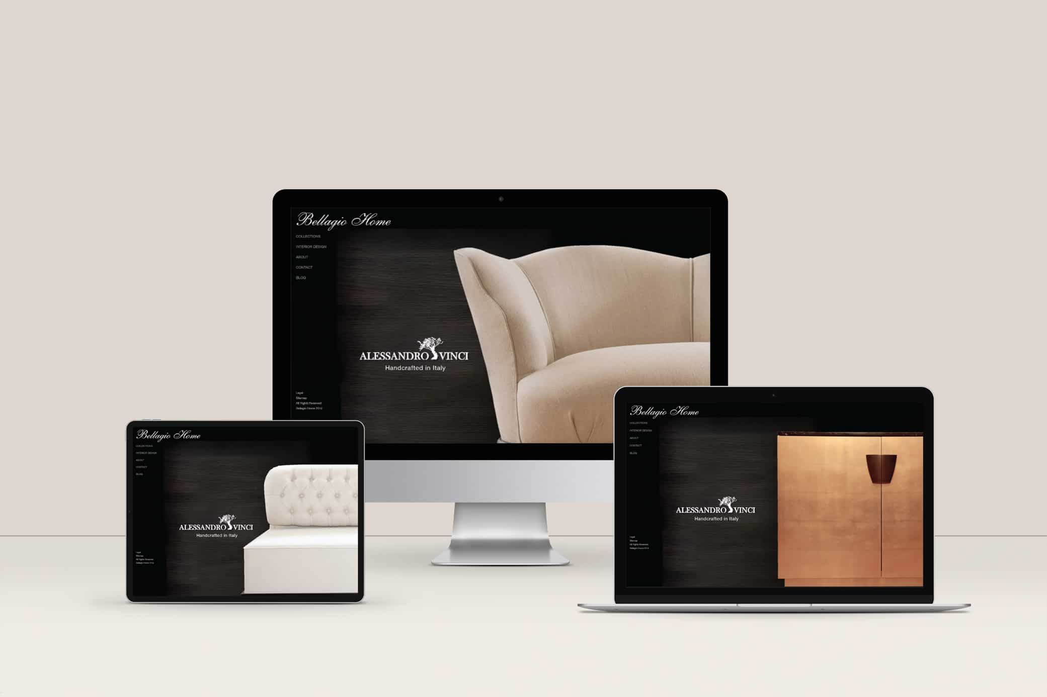 Bellagio Home website design featuring three different views of home page.