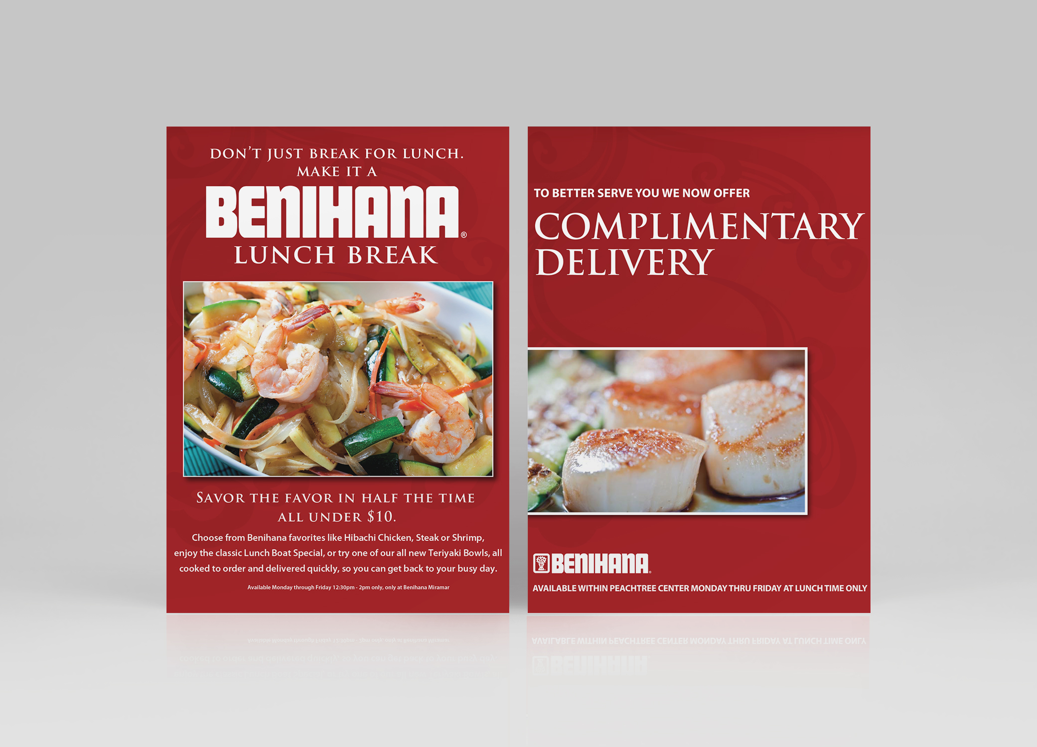 Benihana food brand design featuring Lunch Break and Complimentary Delivery flyers in red.