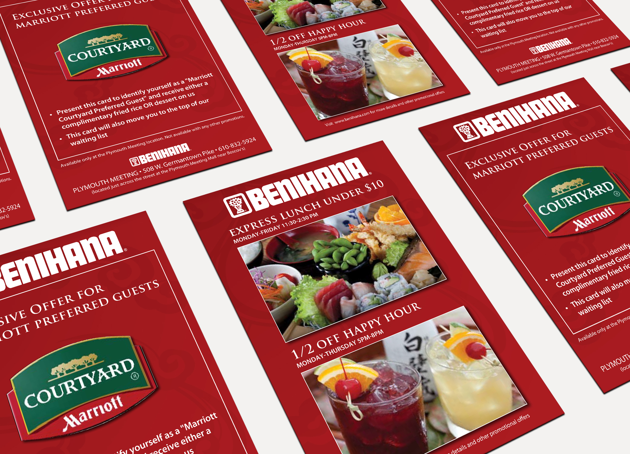 Benihana food brand design flyers for Marriott Preferred Guests arranged in diagonal rows against white backdrop.