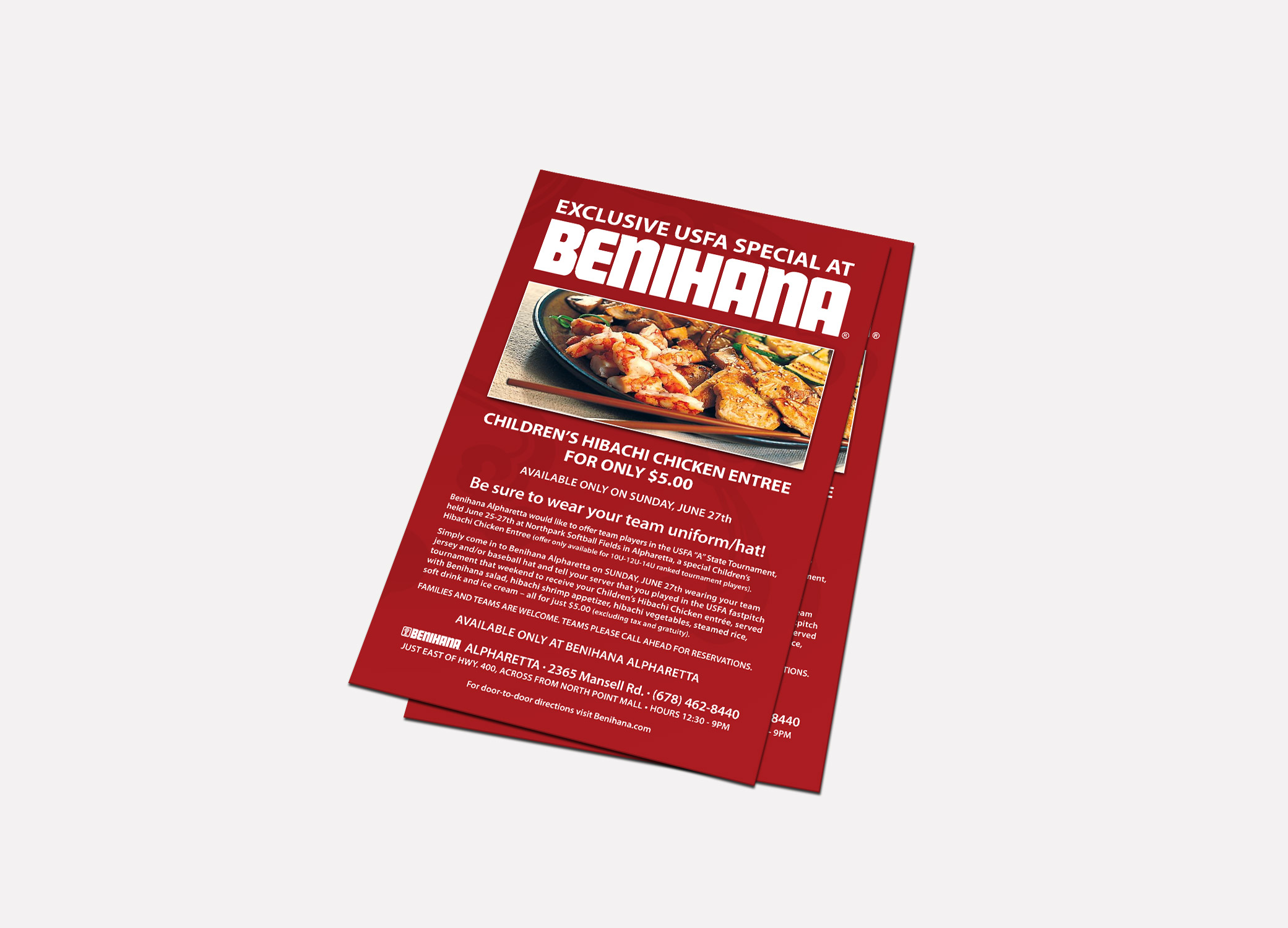 Benihana food brand design for print marketing materials in red featuring the restaurant's exclusive entree.