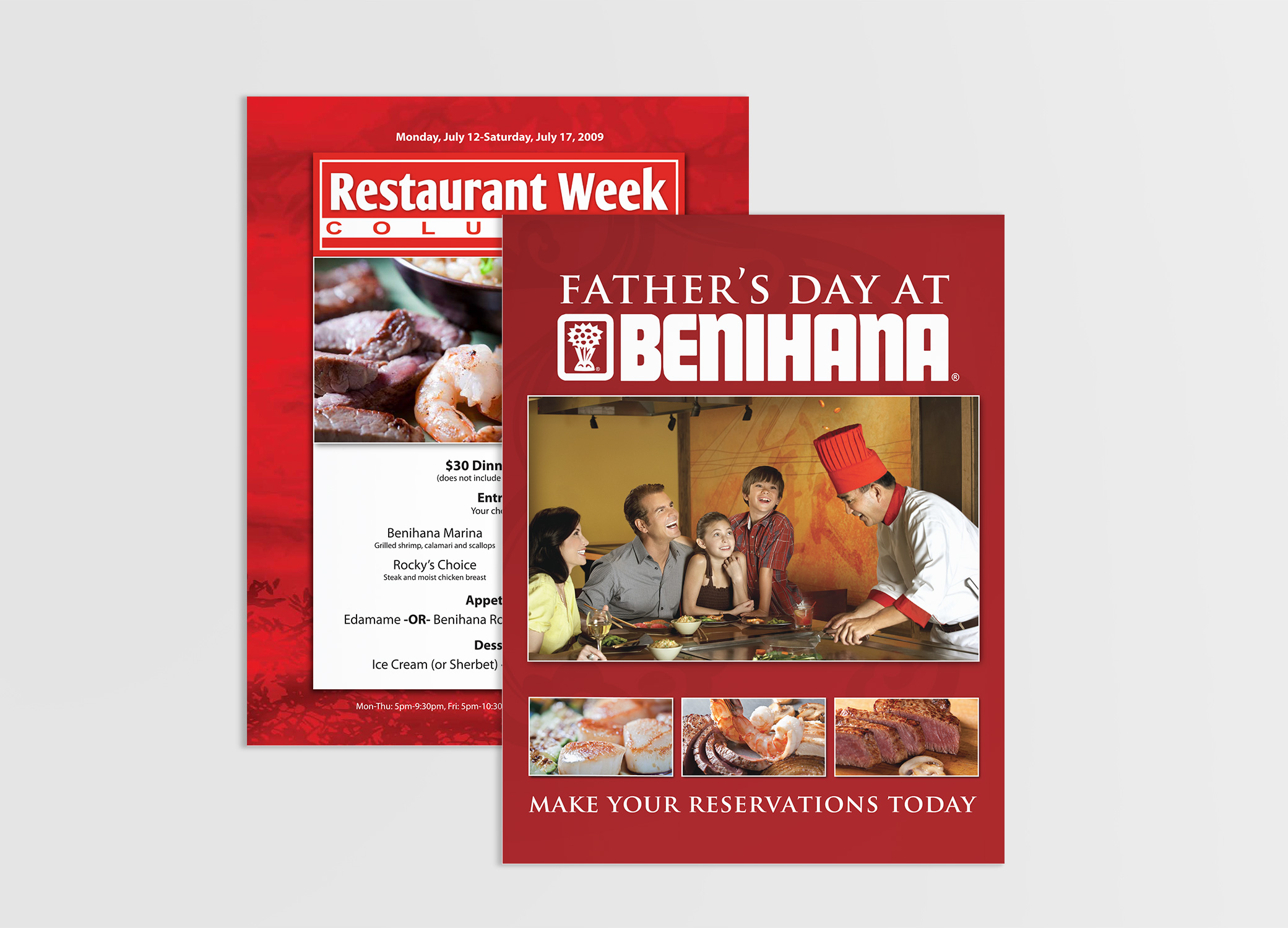 Benihana food brand design promotional posters in red for Father's Day and Restaurant Week.