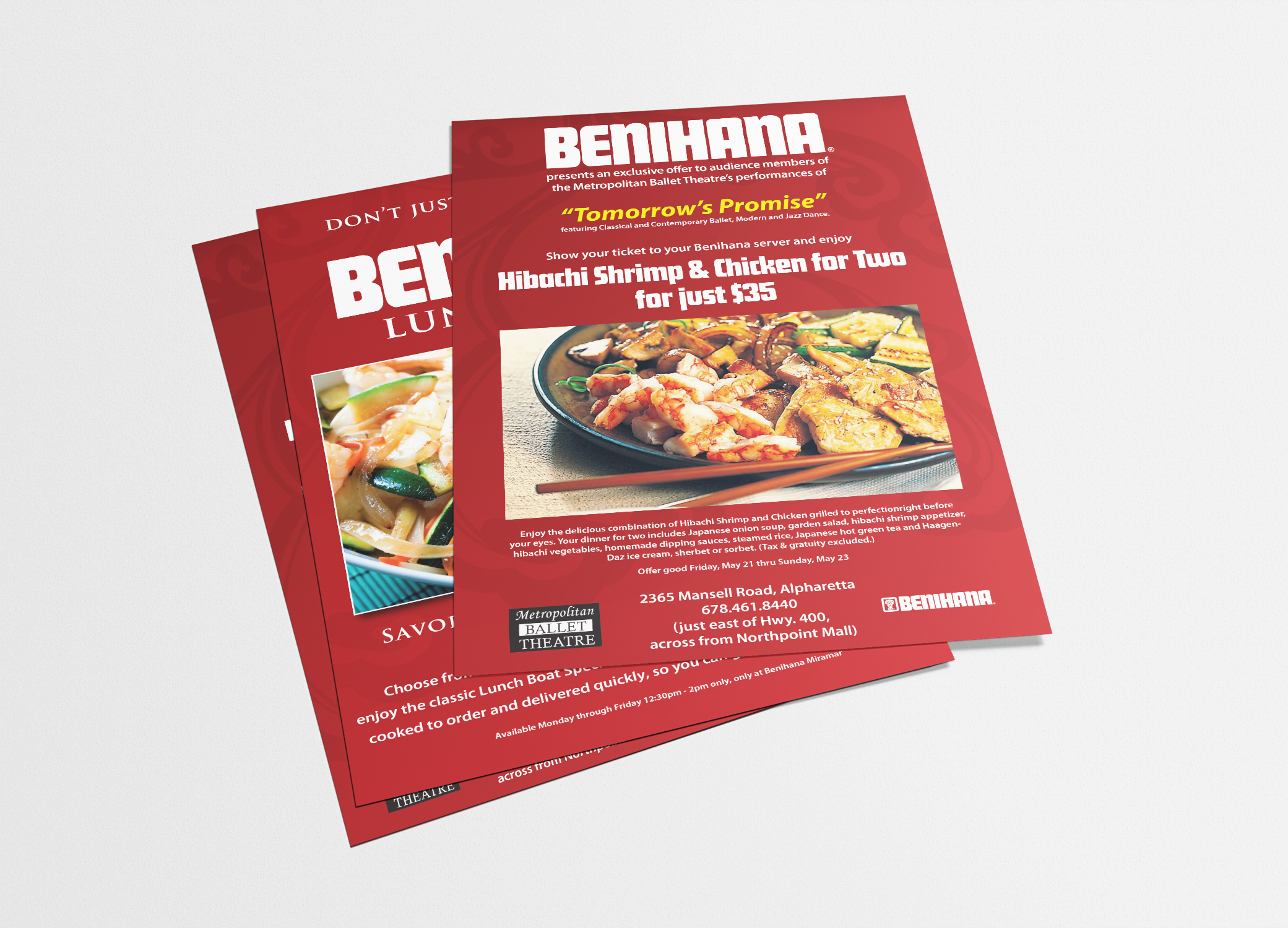 Benihana food brand design red poster featuring the restaurant's exclusive entree against grey backdrop.