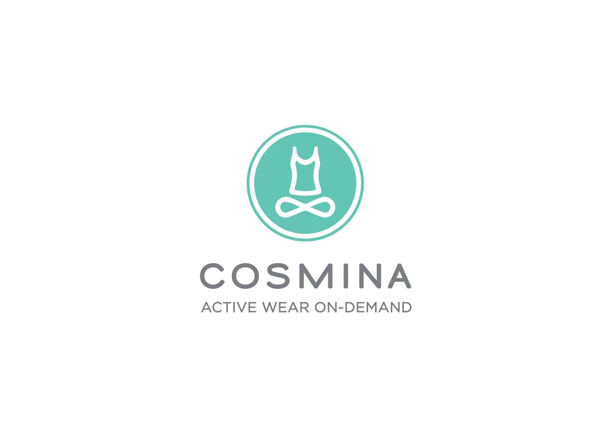 Cosmina logo design with blue yoga lotus position element inside a circle above grey logo typography.