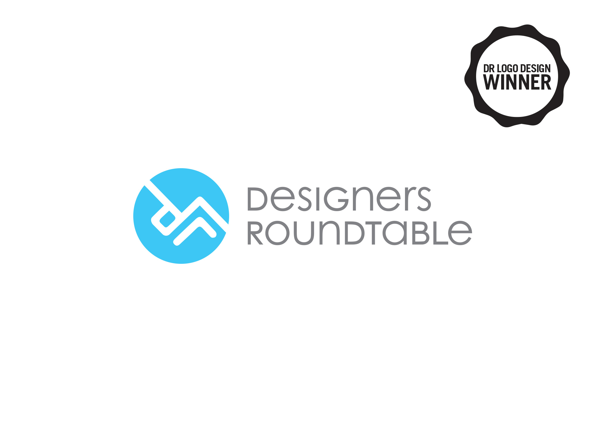"""Designers Roundtable award winning graphic design logo using the initials """"DR"""" on an angle that looks like a table next to logo typography."""