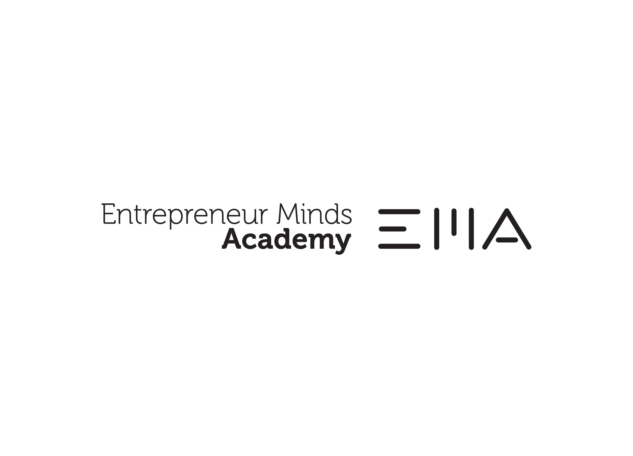 """Entrepreneur Minds Academy logo design with bold type for """"EMA'' and """"Academy"""" in all black serif font."""