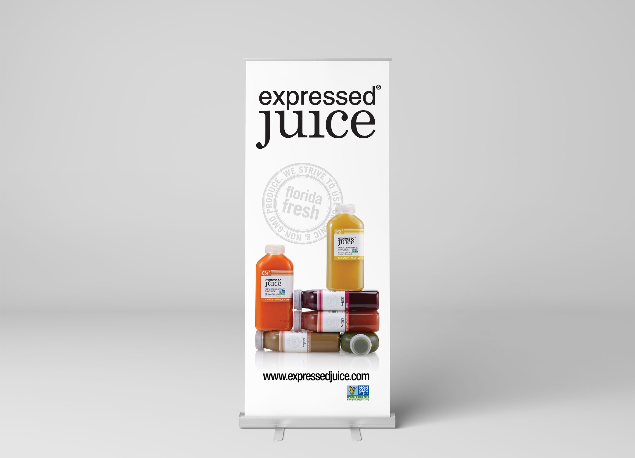 Expressed Juice banner displaying juice bottles, highlighting the bold juice colors and teasing the flavor within the juice.