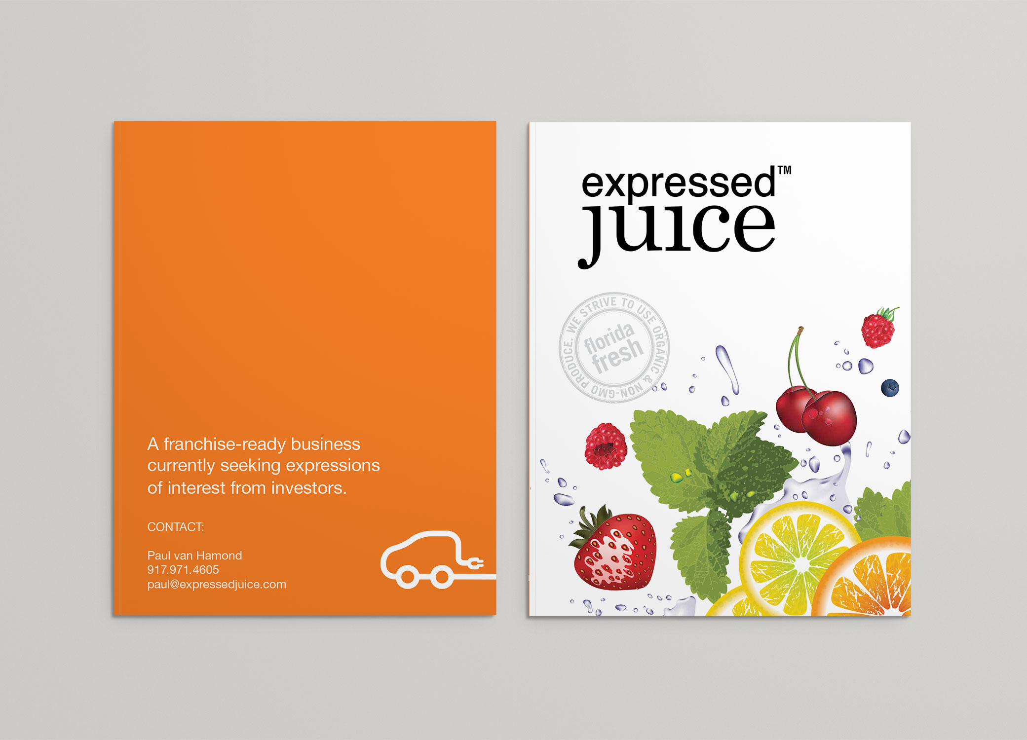 Expressed Juice brochure showcasing the front and back pages.