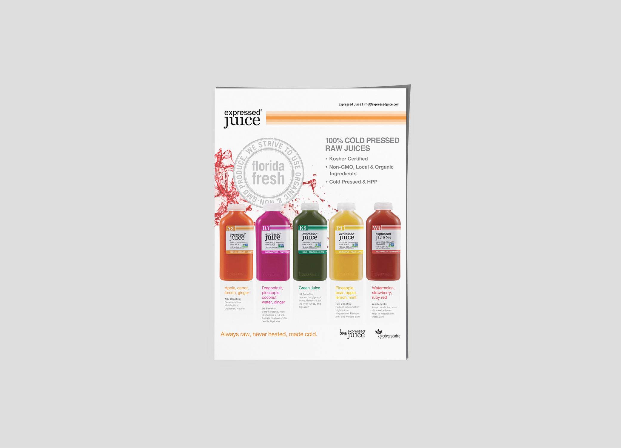 Expressed Juice flyer promoting five different types of cold pressed juices with descriptions about each.