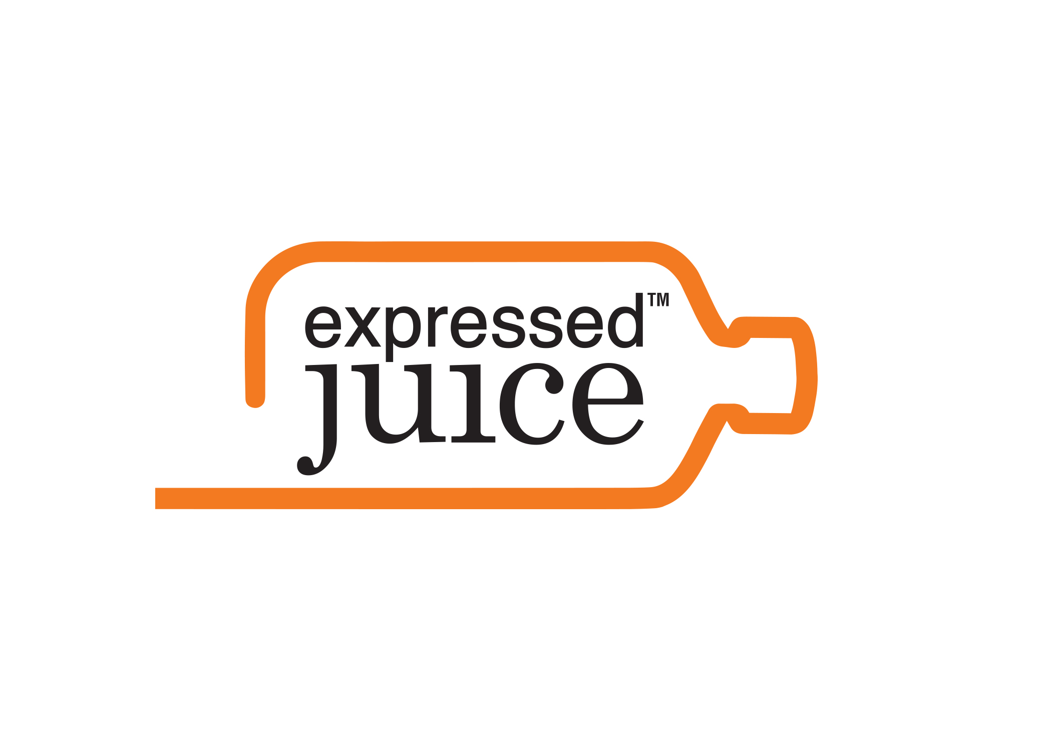 Expressed Juice brand identity design featuring sideways bottle outline in orange with black and white logo inside.