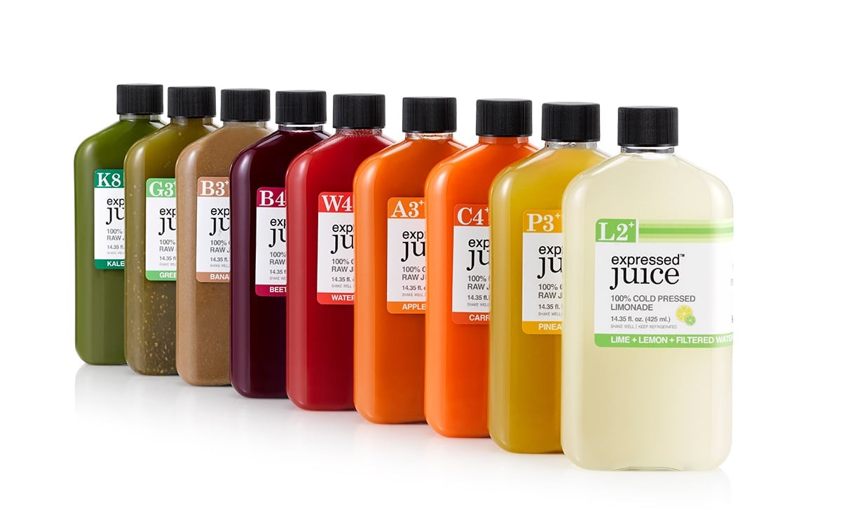 Expressed Juice bottle packaging design showcasing different flavors lined up in a diagonal row.