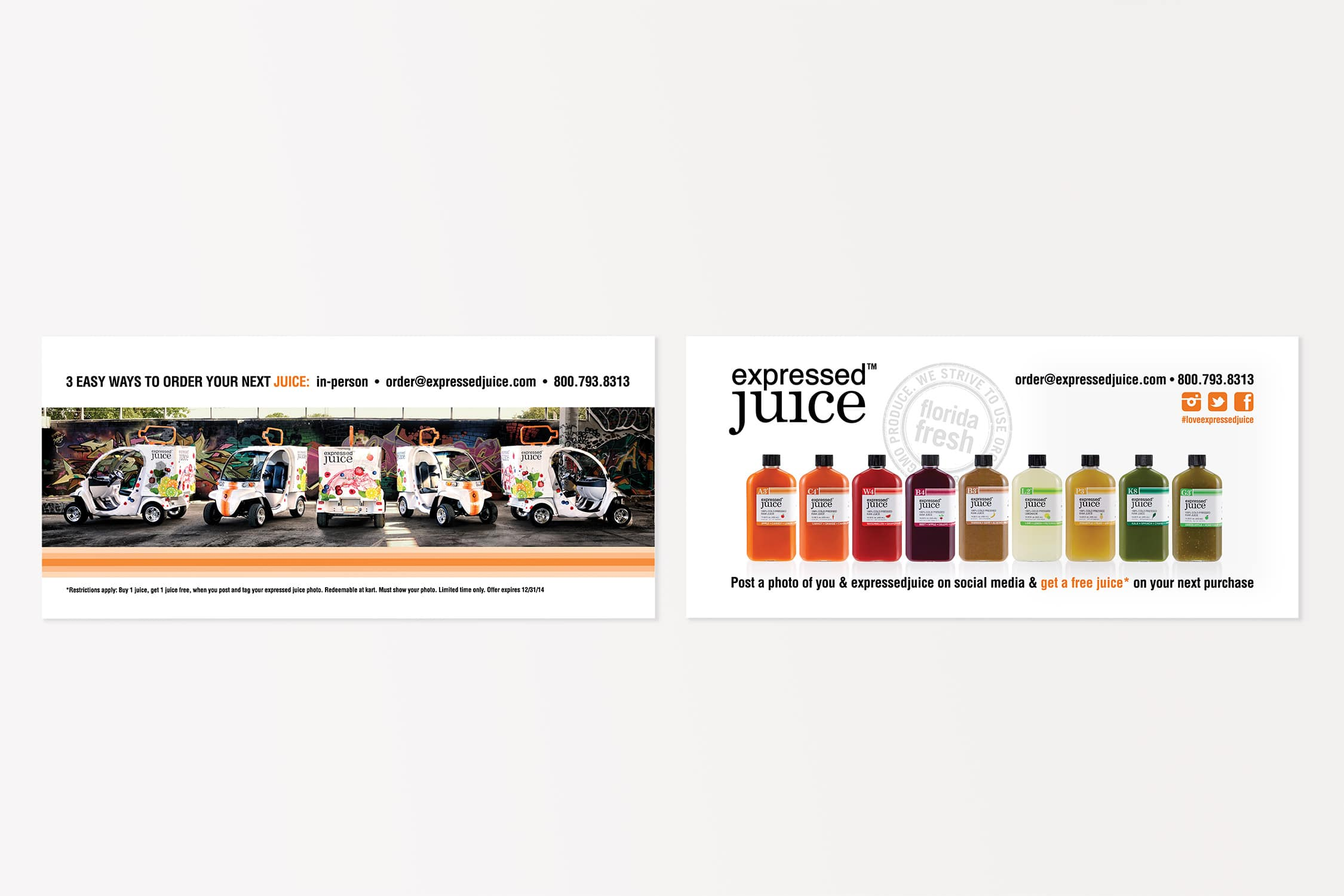 Expressed Juice postcard showcasing their products and spreading brand awareness.