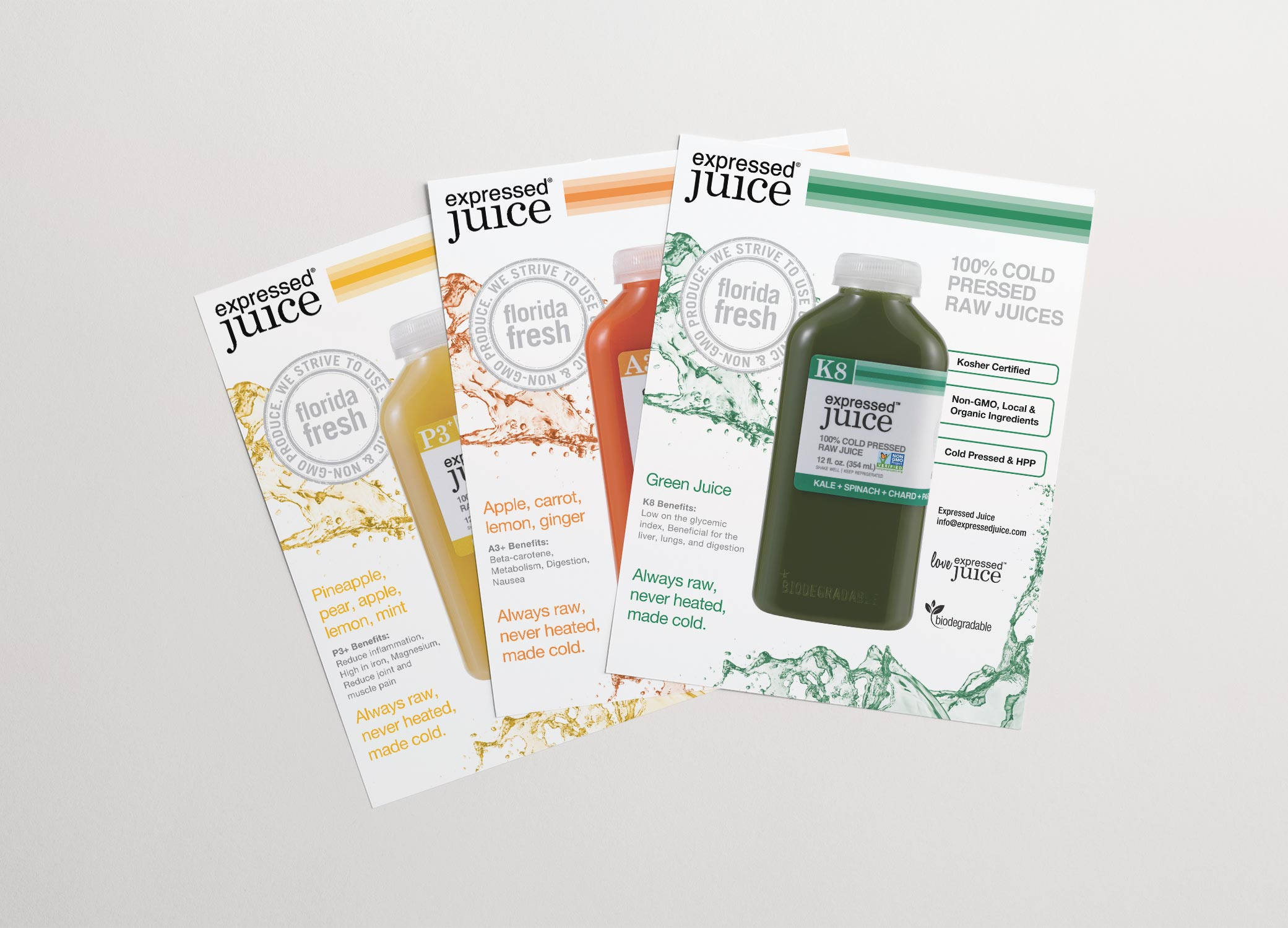 Expressed Juice cruise line flyers providing insight into the brand and offer marketing potential.