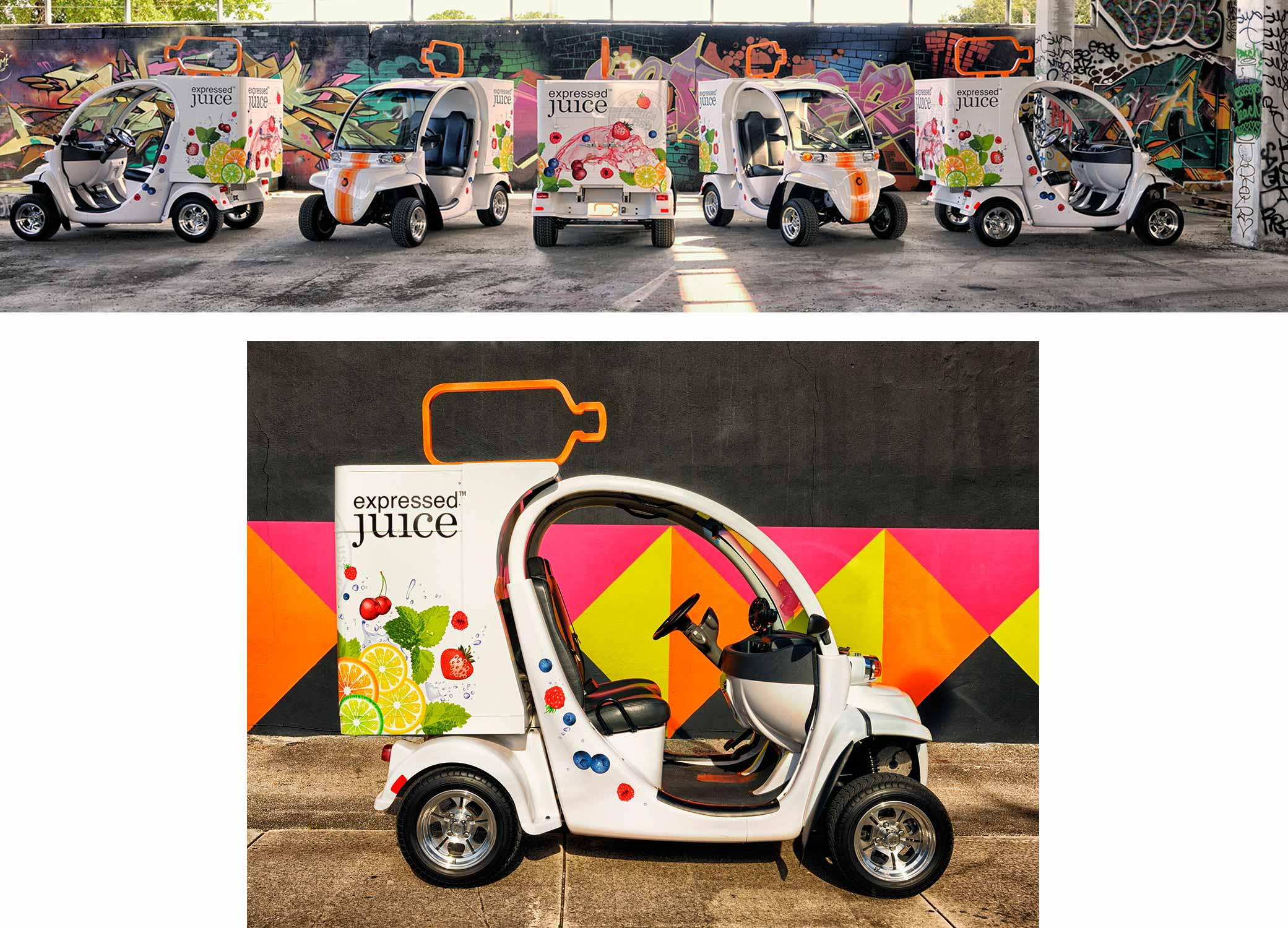 Expressed Juice vehicle graphics on white golf carts shown from various angles against a colorful graffiti wall.