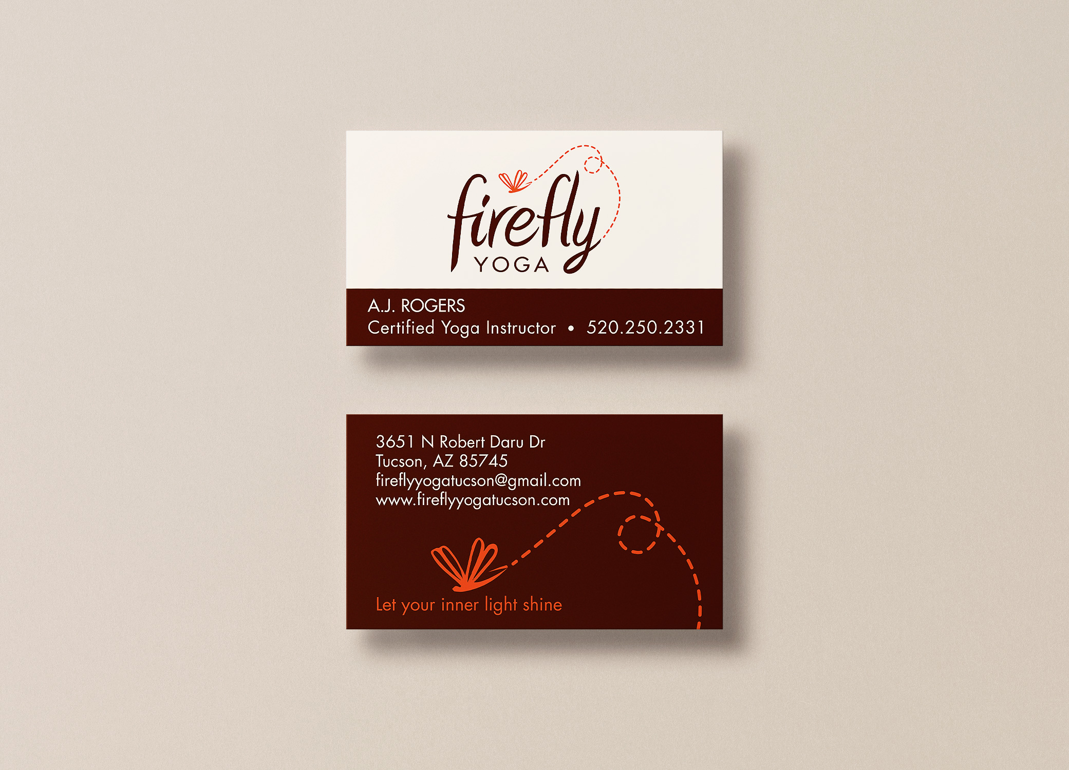 Firefly Yoga business cards showing  branding and marketing design.
