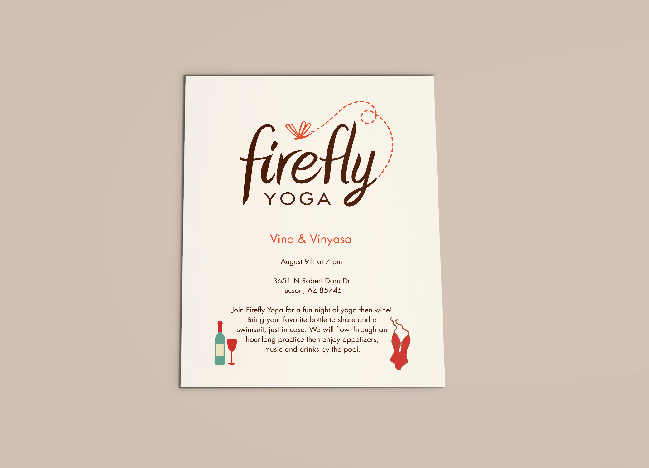 Firefly Yoga flyer promoting studio events against beige backdrop.