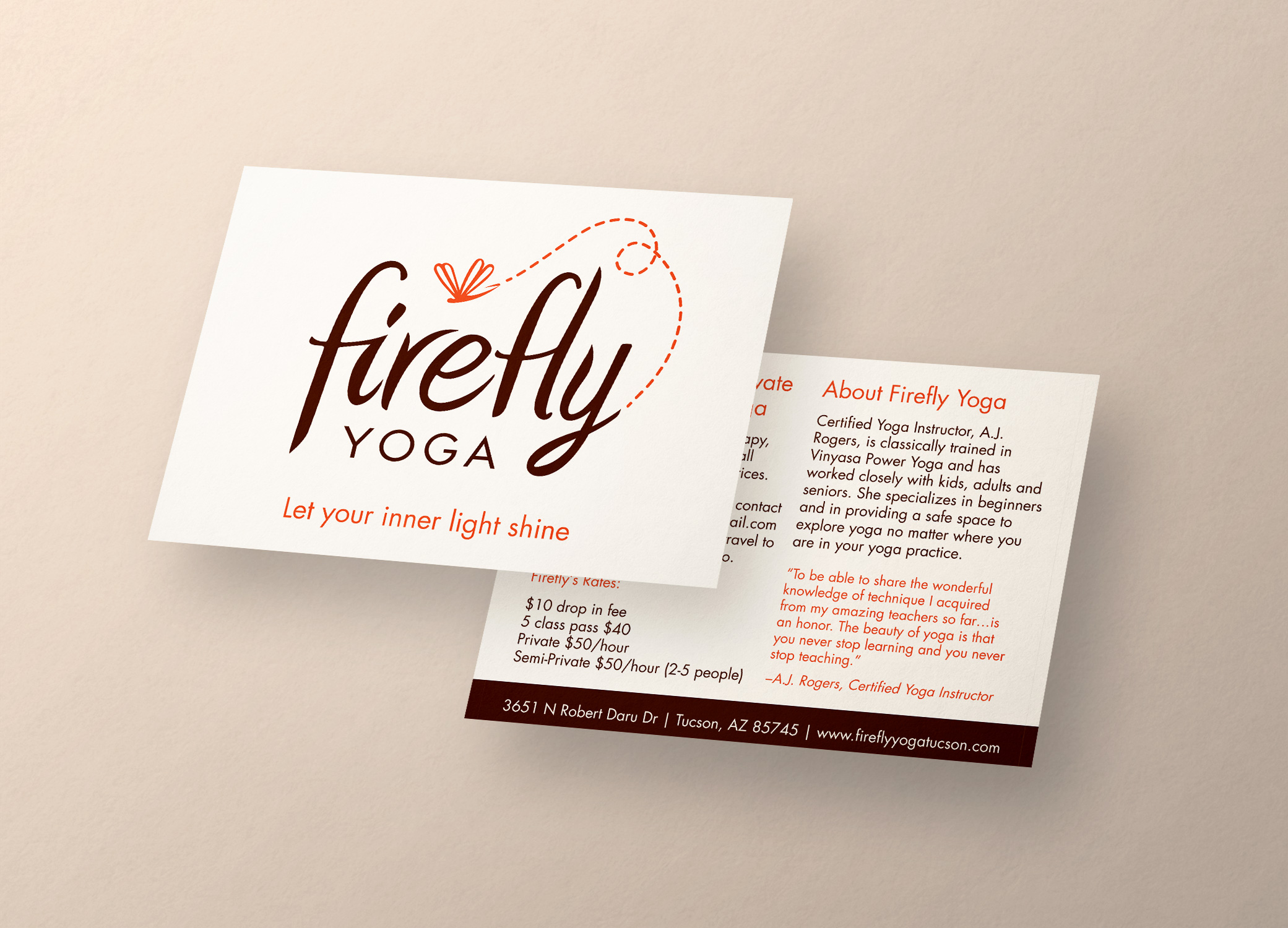 Firefly Yoga postcard front and back view providing more information about the brand and its services.