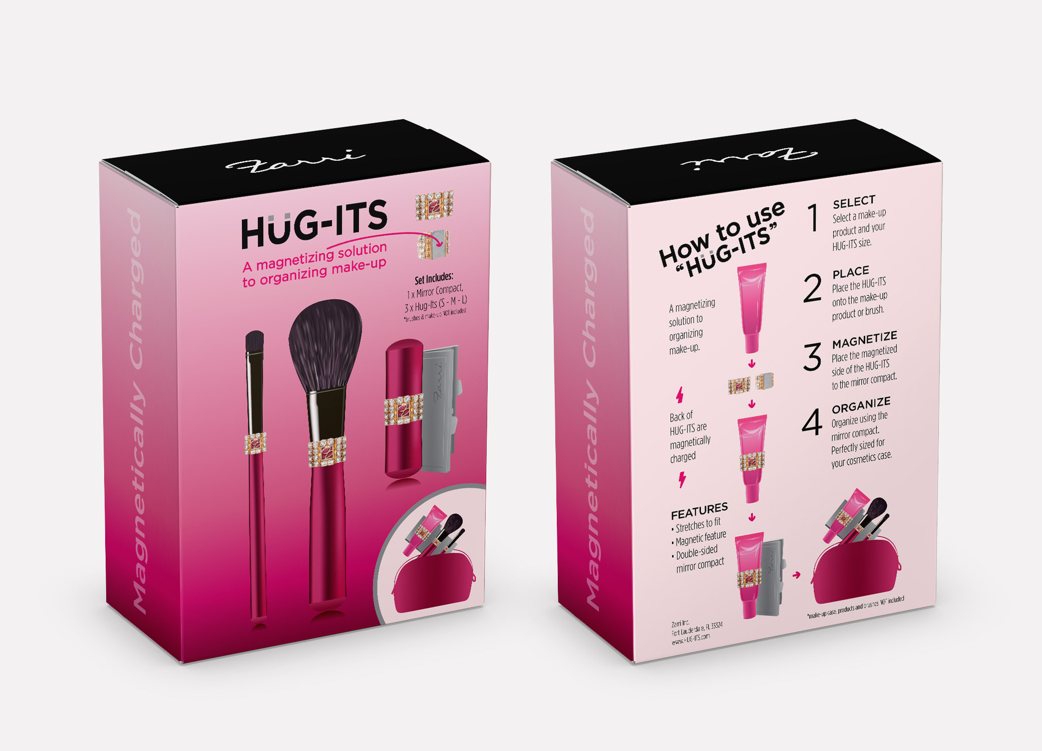 Hug-its cosmetic product packaging design box showing front and back of magenta and black with directions for how to use on the back.