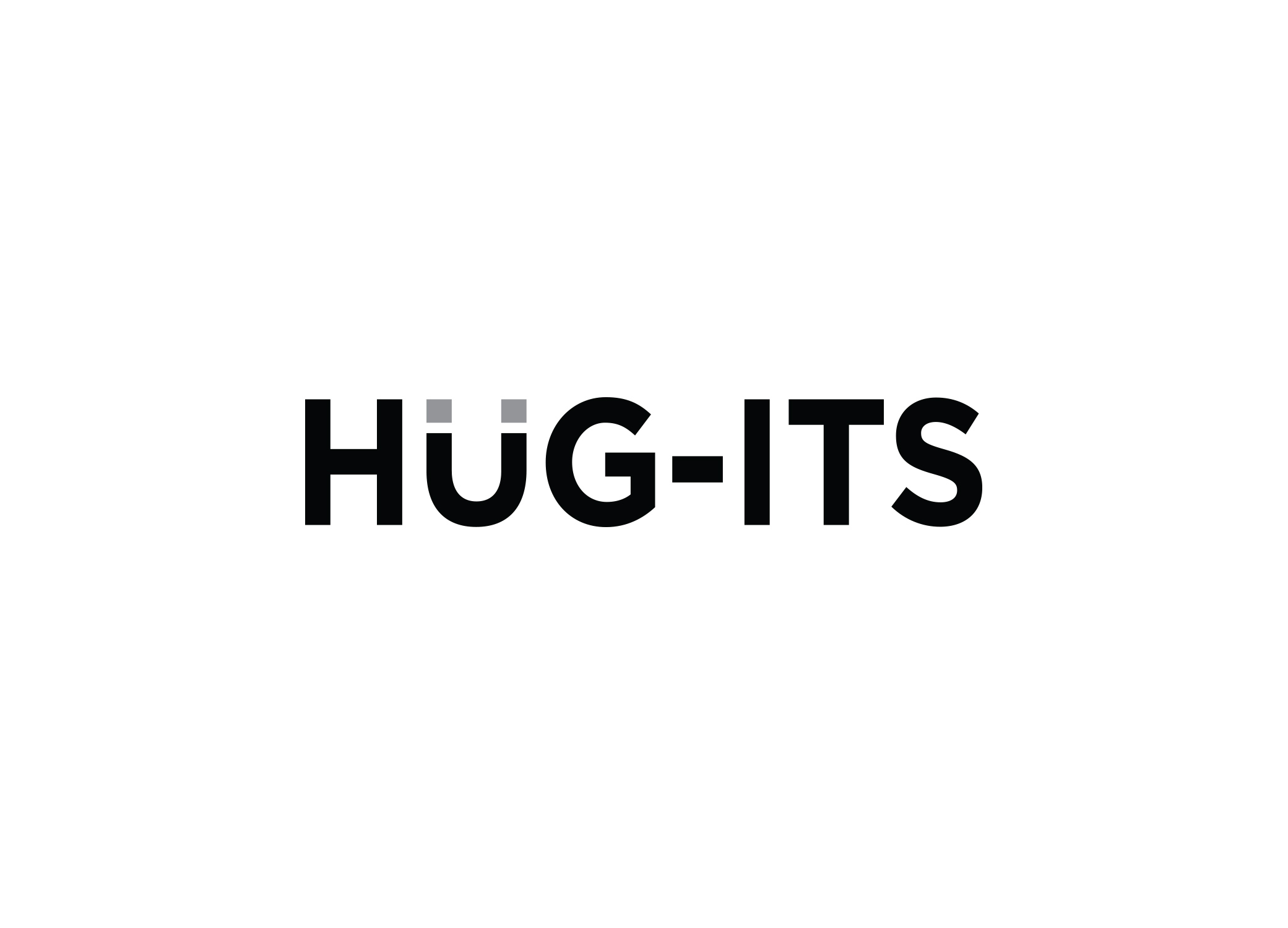 """Hug-its logo design featuring the """"u"""" as a magnet and bold black and gray sans serif font."""