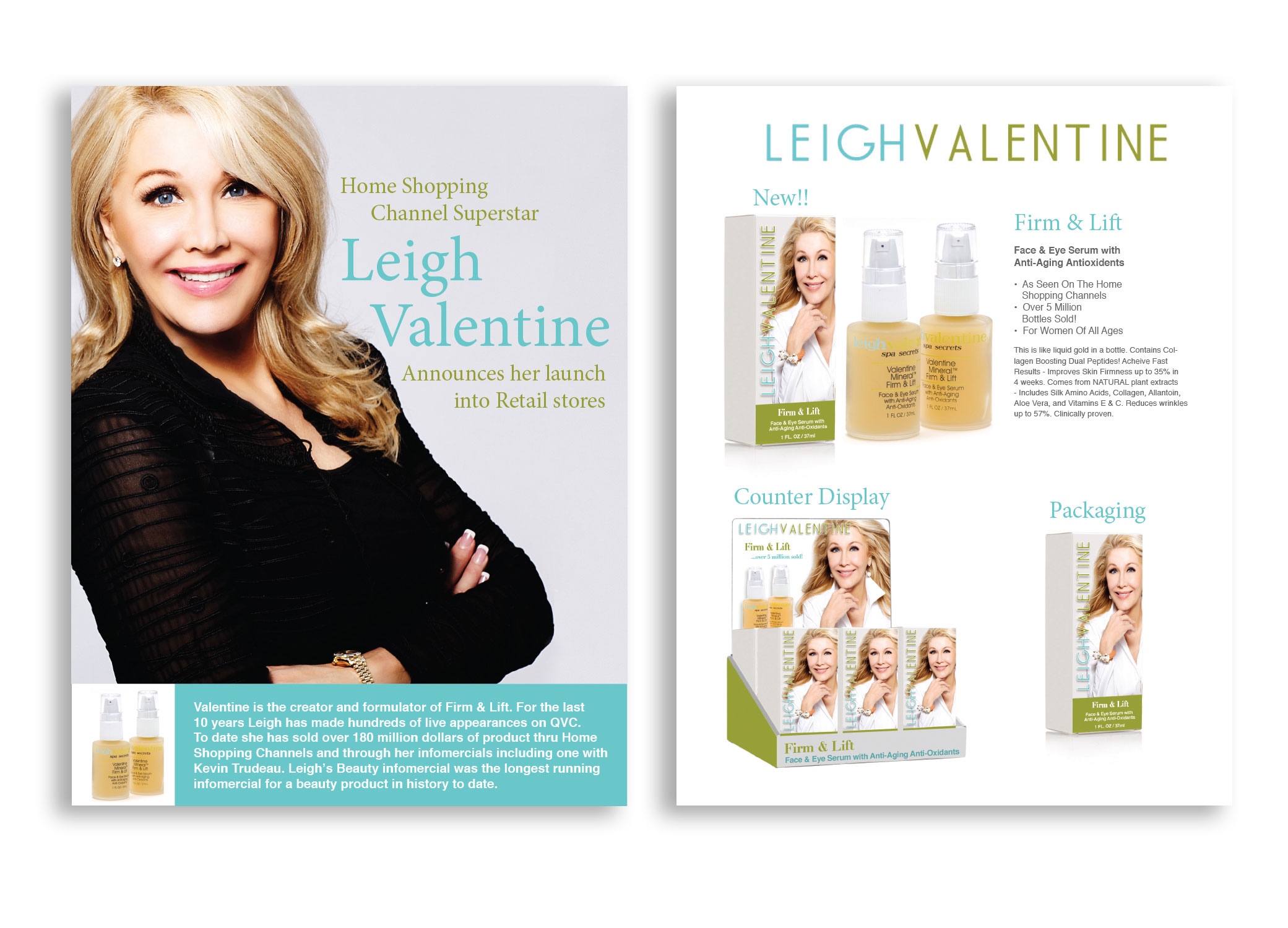 Leigh Valentine brochure including images of counter display, packaging, and the skincare product itself.