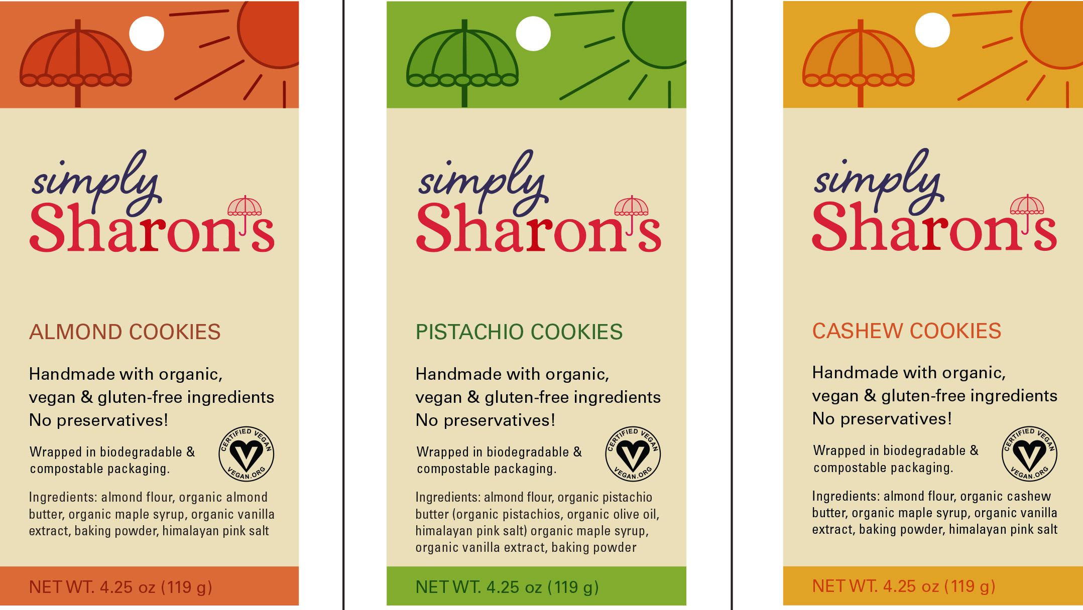 Simply Sharon's cookie package design label in earthy colors, inviting designs, and logo above ingredients list.