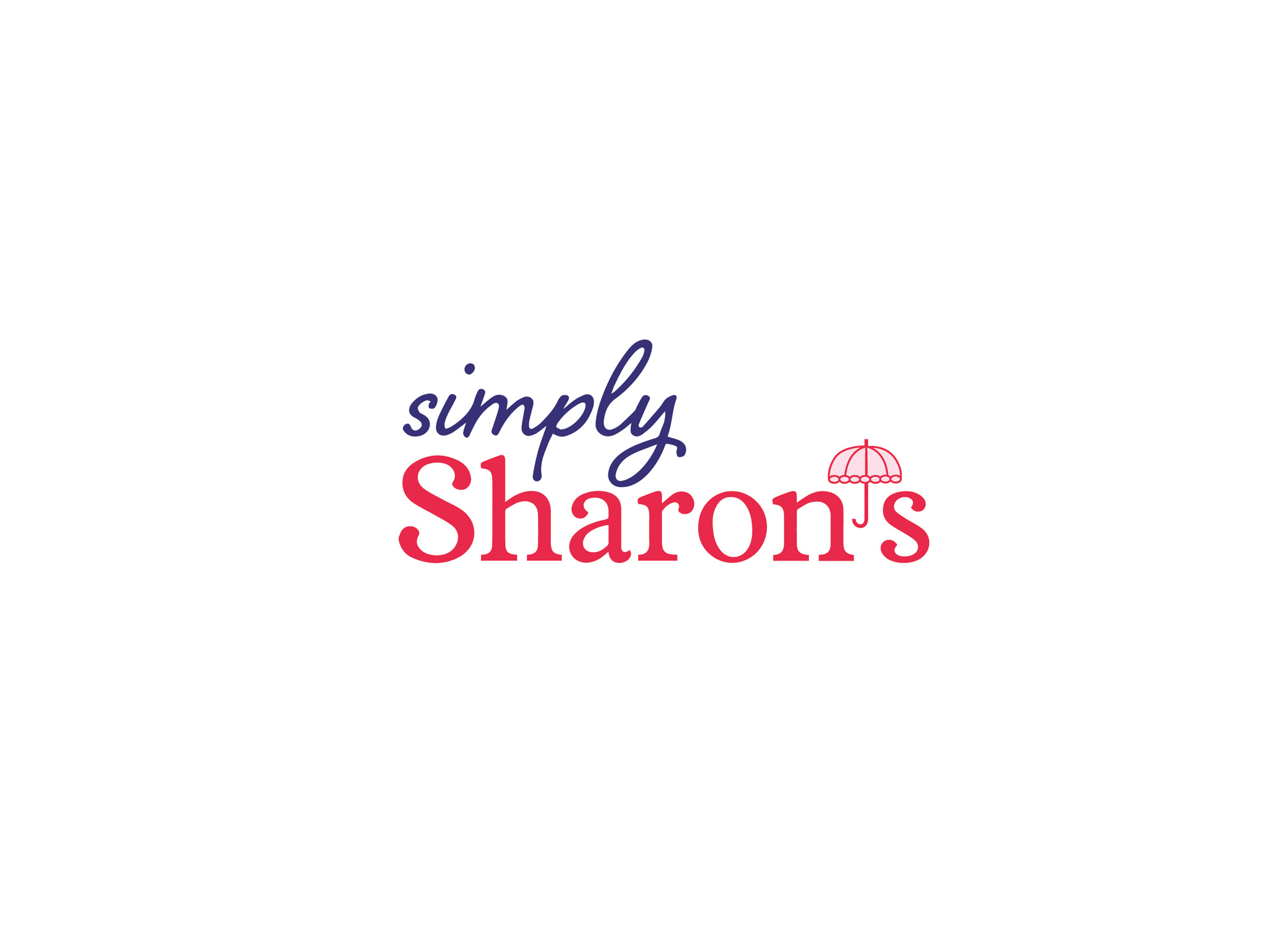 Simply Sharon's logo for cookie package design in purple script and red decorative fonts with parasol symbol as the apostrophe.