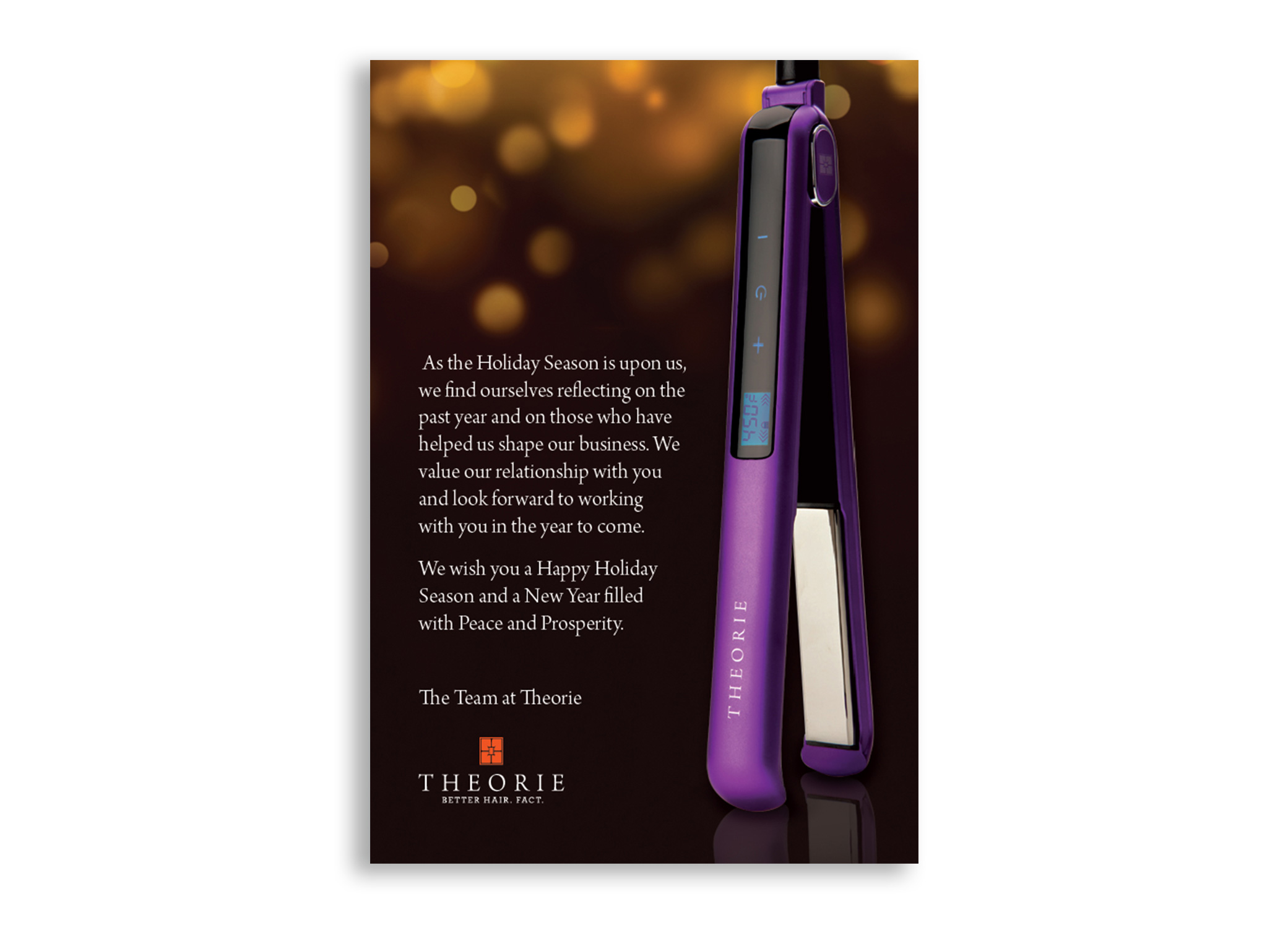 Theorie Save the Date postcard design for sneak preview event showing purple flat iron with chocolate brown case.