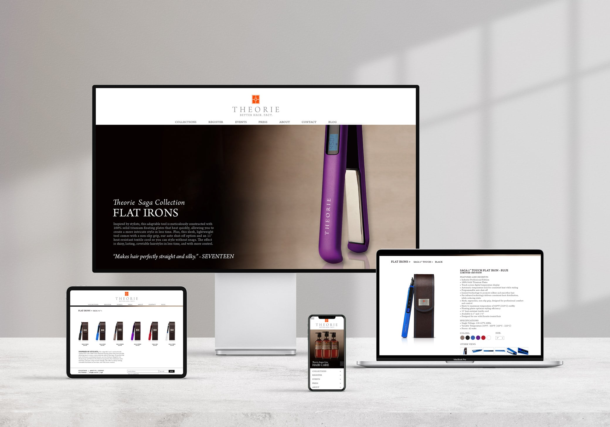 Theorie high-end website design with light backgrounds to make hair tools pop and enhanced e-commerce features.