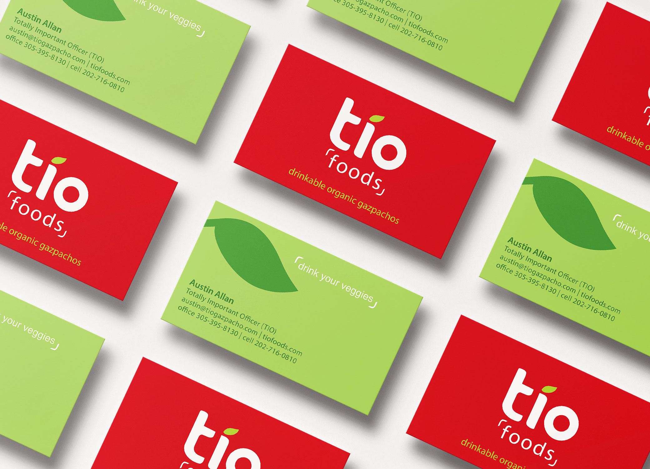 Tio Gazpacho red and green business cards arranged in slanted rows to show front and back.