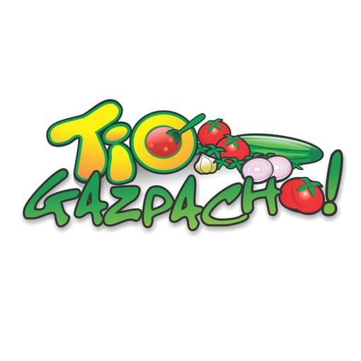 Tio Gazpacho logo before the redesign in funky bright green and yellow font and vegetable icons.