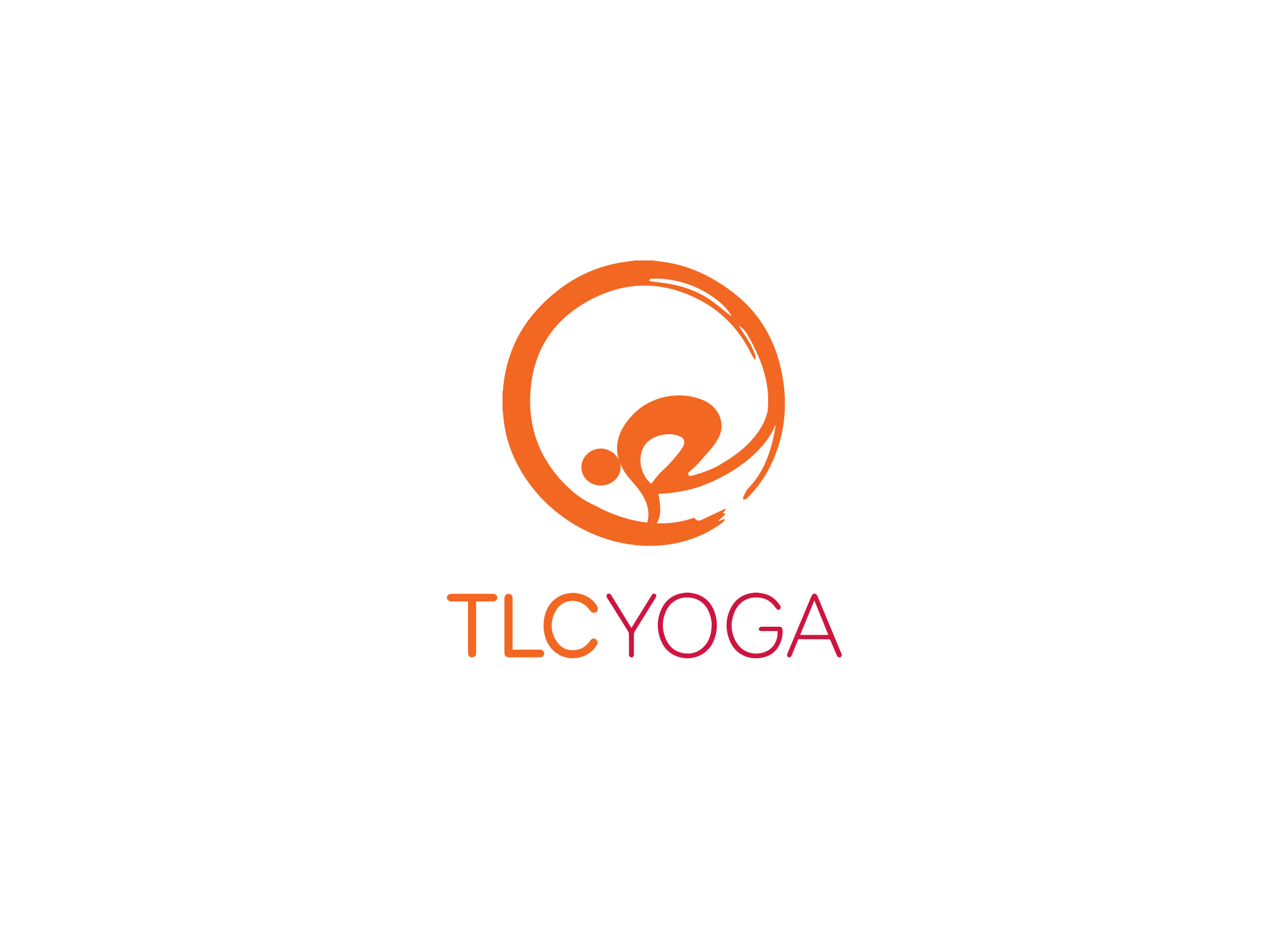 TLC Yoga logo in orange and pink depicting human form in the crow pose within a zen circle placed over the brand name.