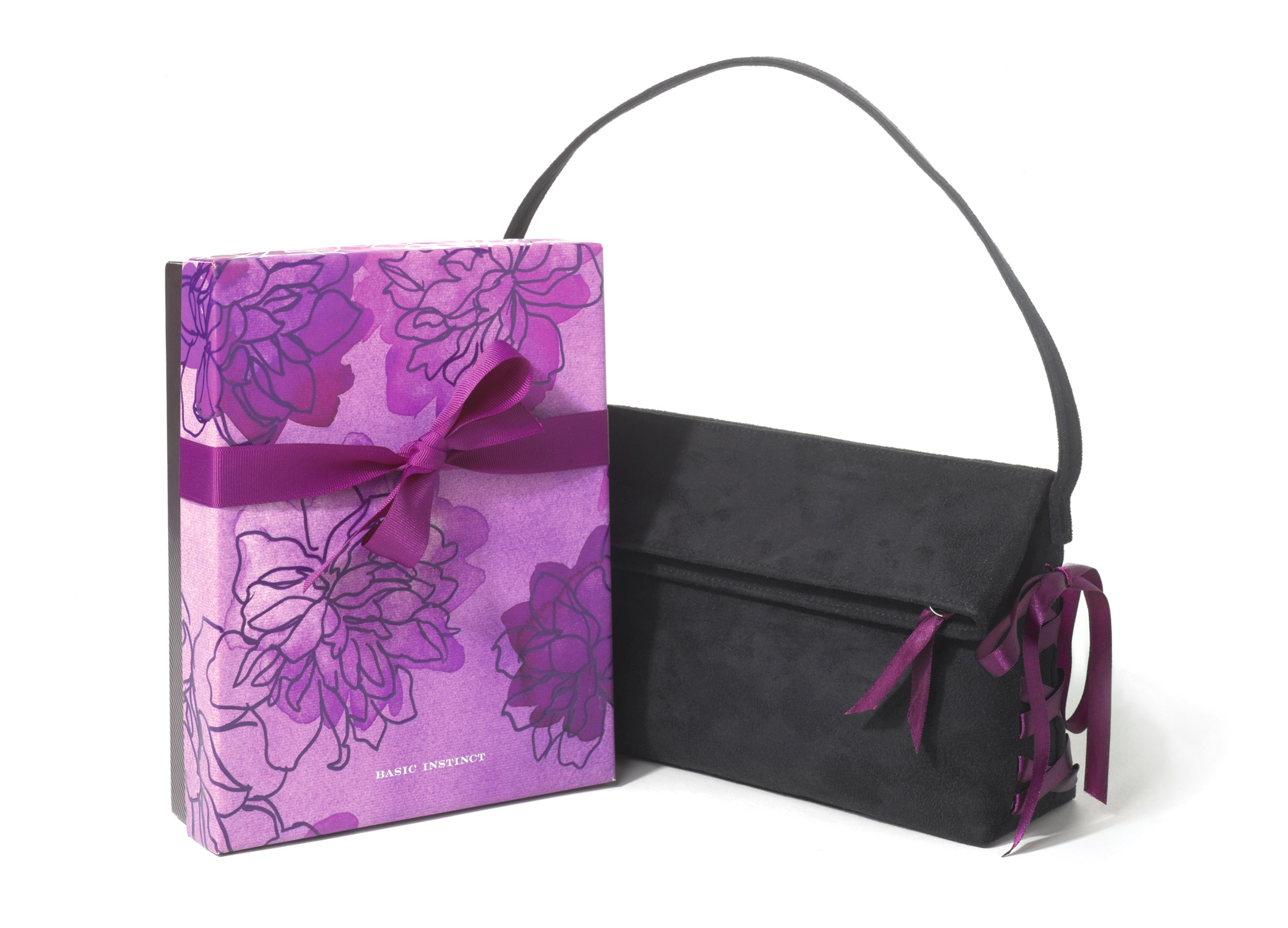 Unique gift boxes packaging design for Victoria's Secret Basic Instinct with black handbag and floral box.