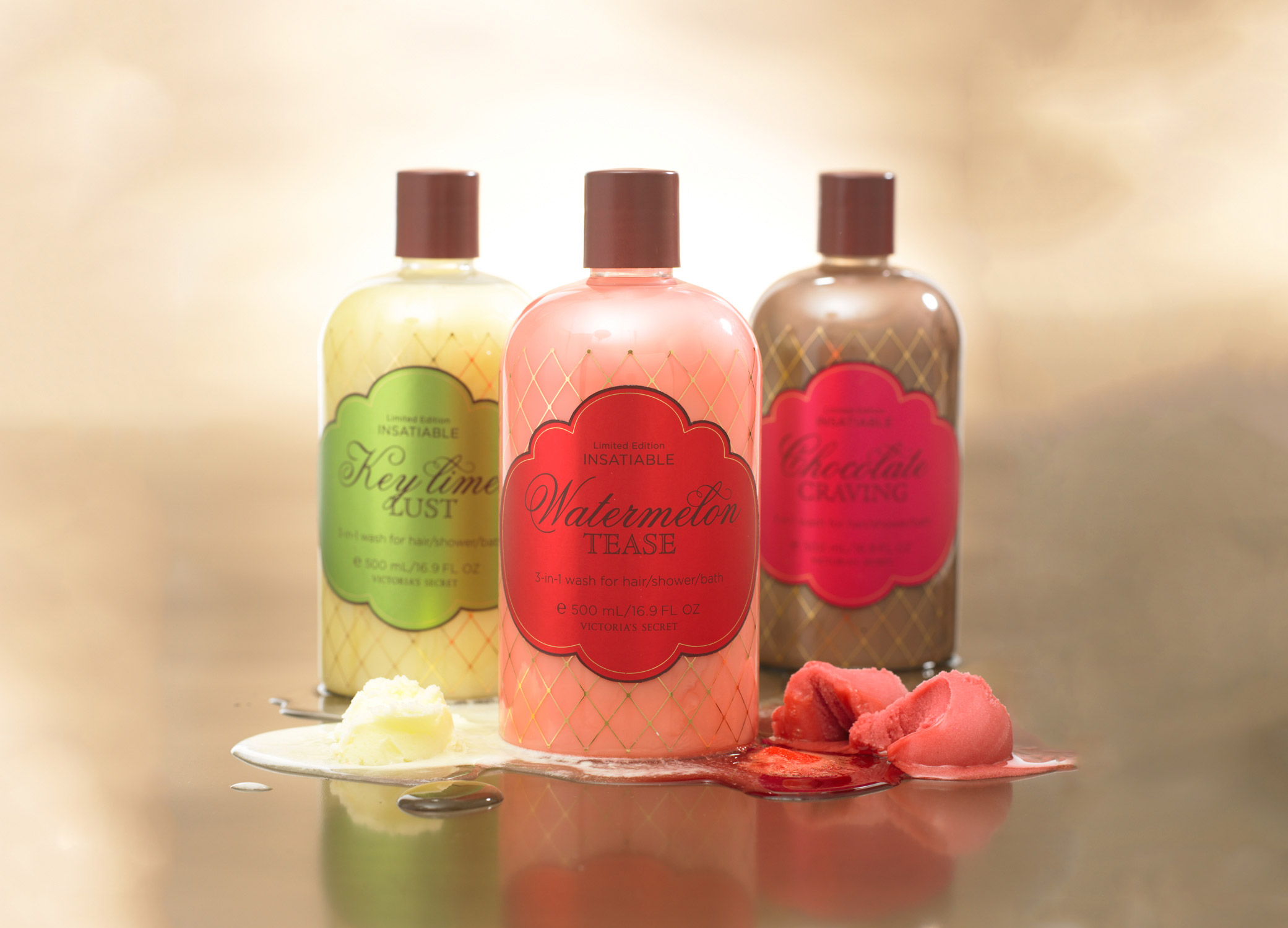 Victoria's Secret Insatiable packaging design bottles for three different body washes that align with the body spray and body lotion.