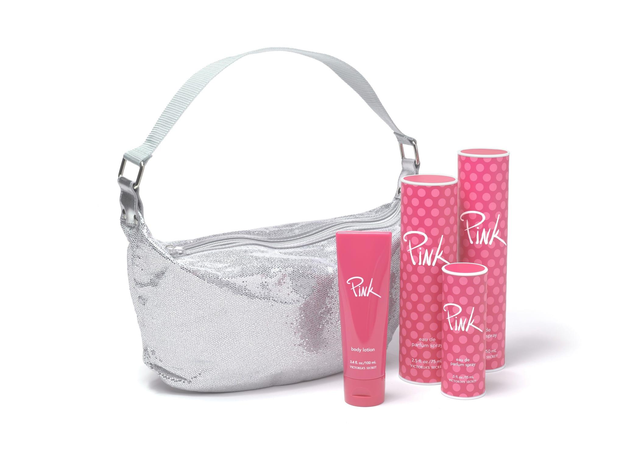 Victoria's Secret Pink packaging design showcasing signature pink fragrance bottles with polka dots and silver handbag.