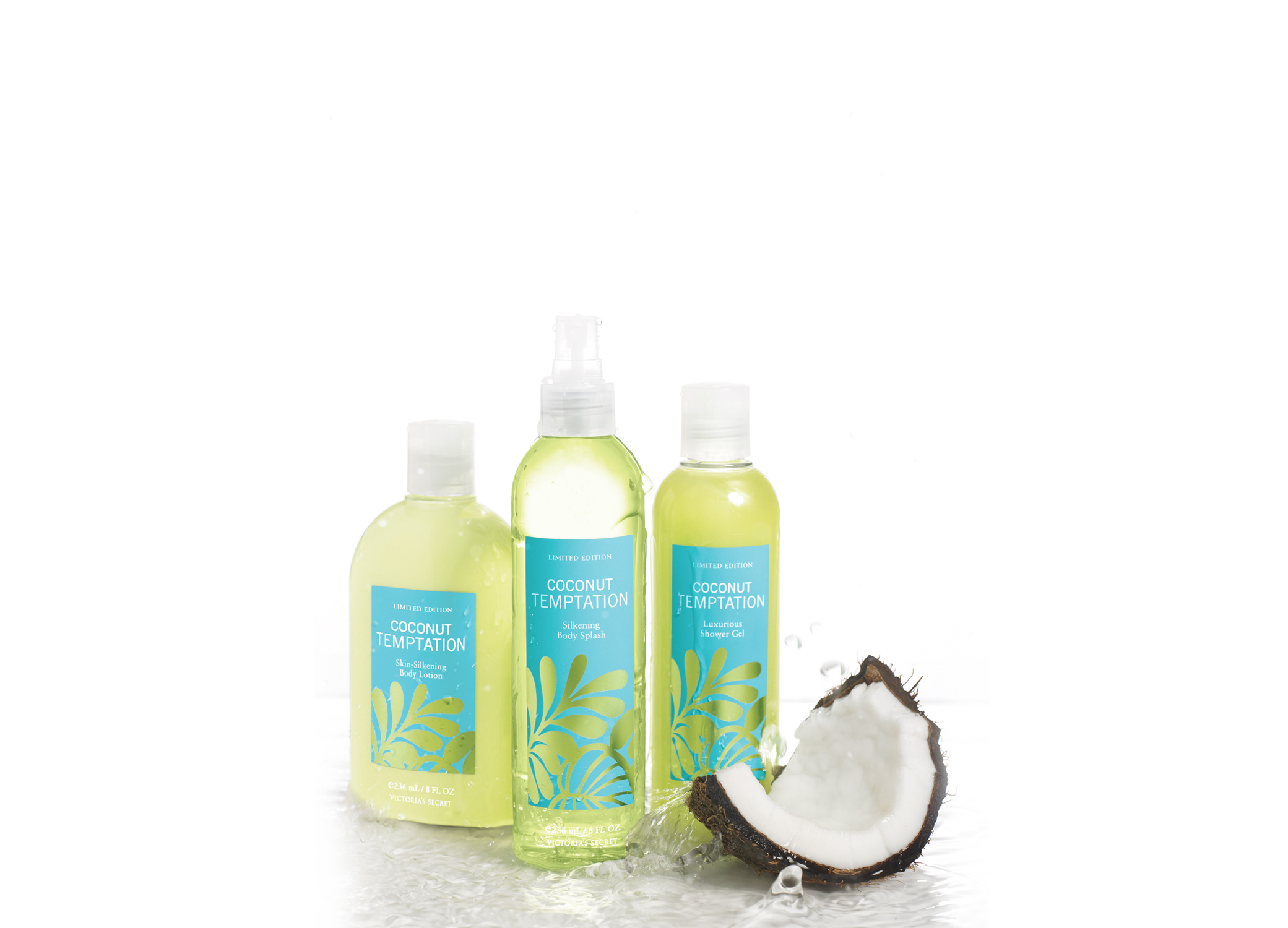 Packaging for bath and body products Victoria's Secret Summer Promo Coconut Temptation line with blues and greens with coconut slice.