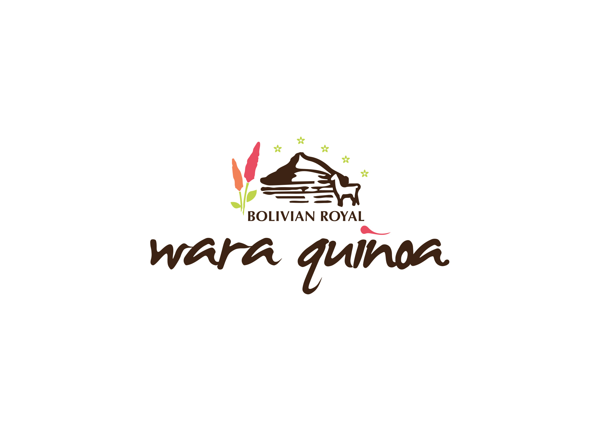Wara Quinoa logo design with the valley and llama icons and brown, pink and green color palette.