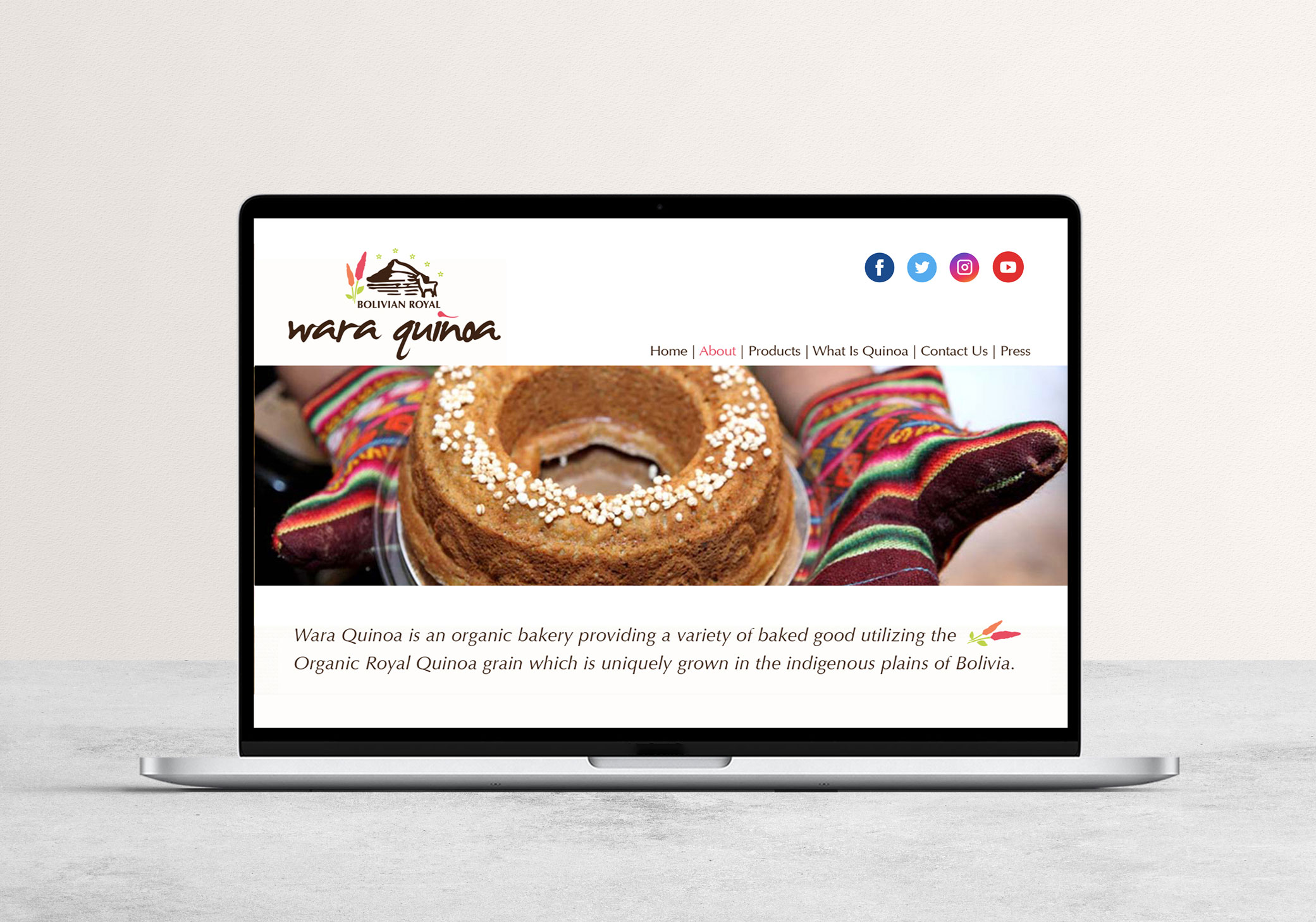 Wara Quinoa website design with natural and healthy elements and vivid colors evoking comfort, energy, and culture.