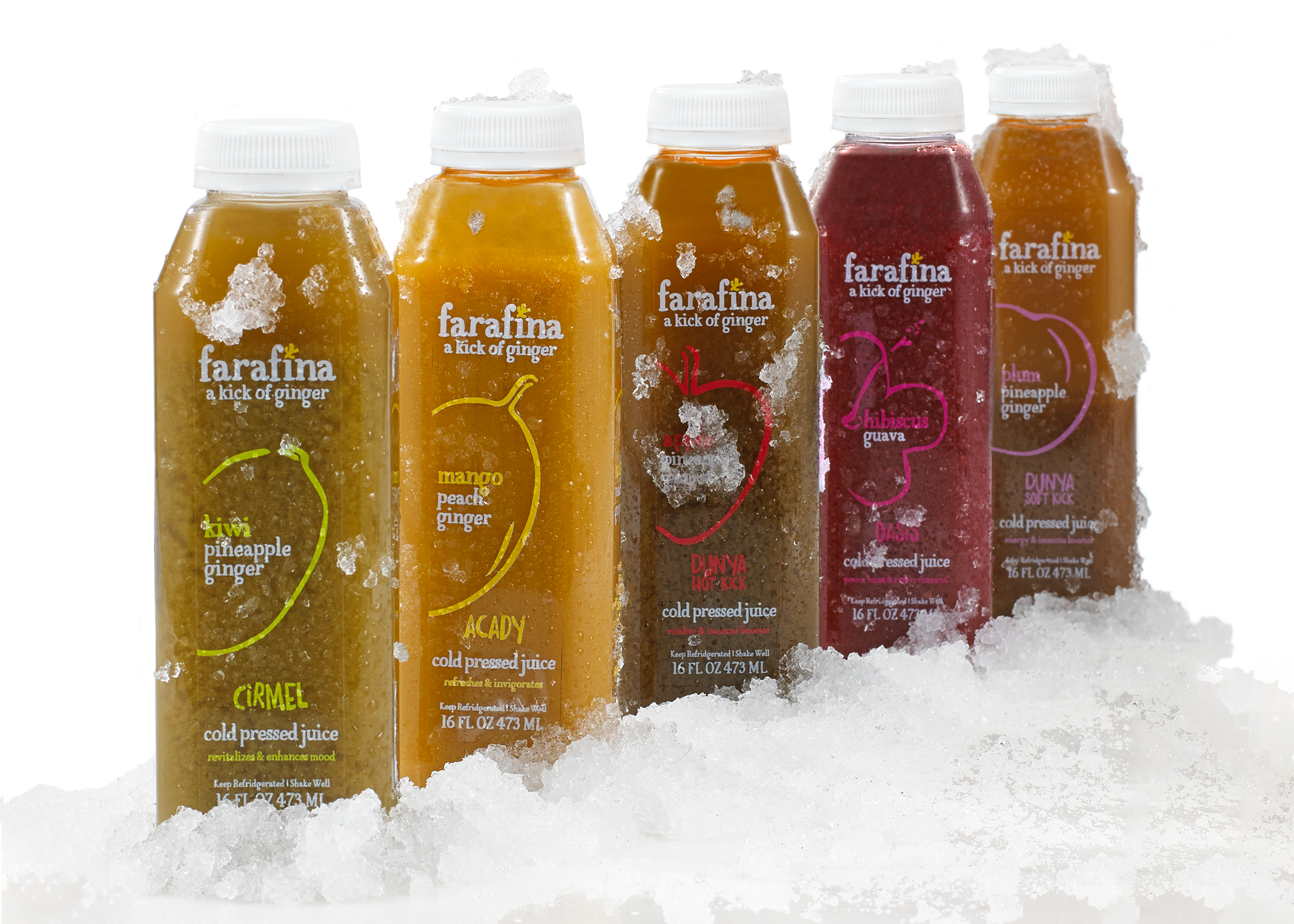 Farafina Juice packaging bottle designs with vibrant, hand drawn, rustic illustrations of the main fruit in each juice.