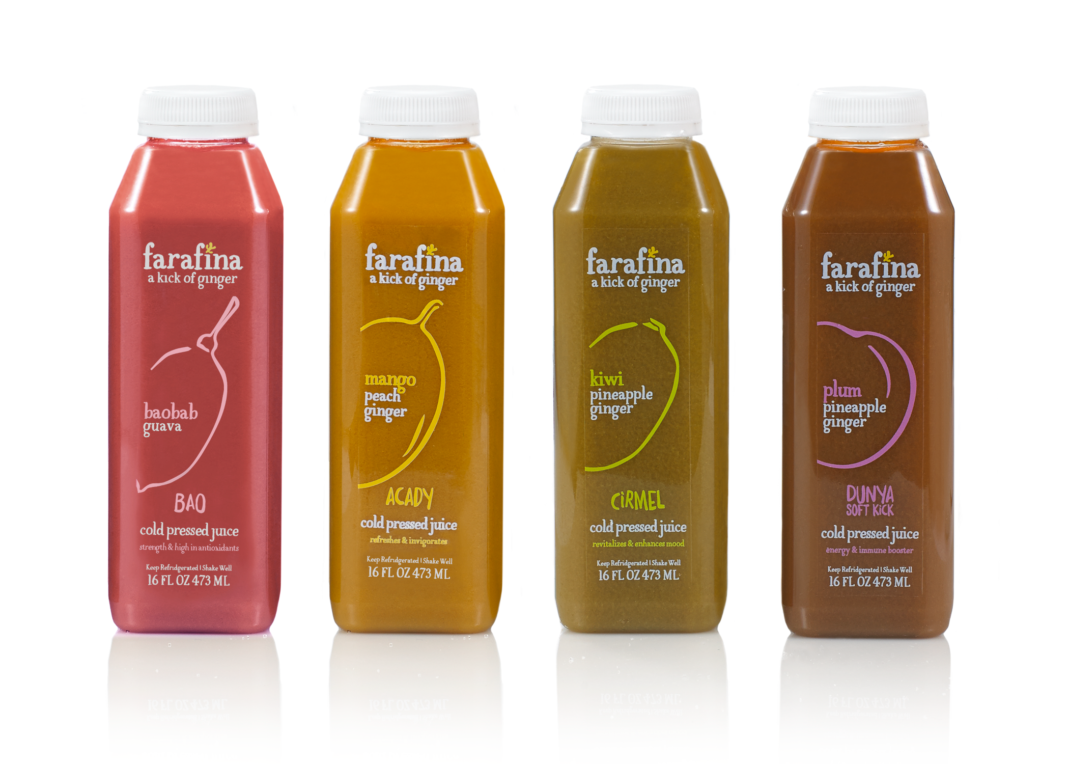 Farafina Juice packaging bottle designs with vibrant, hand drawn, rustic illustrations of the main fruit in 4 juices.