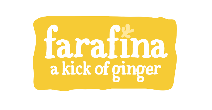 """Farafina Juice logo design, a bold yellow square element behind brand name in white and the tagline """"kick of ginger."""""""