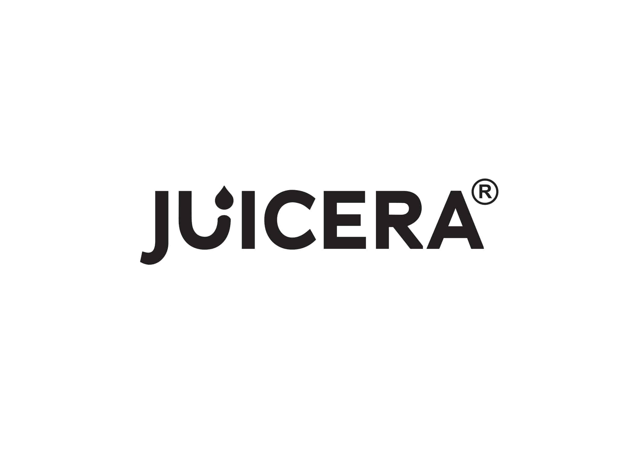 "Juicera logo design in bold black sans serif font with droplet going into the ""U""."