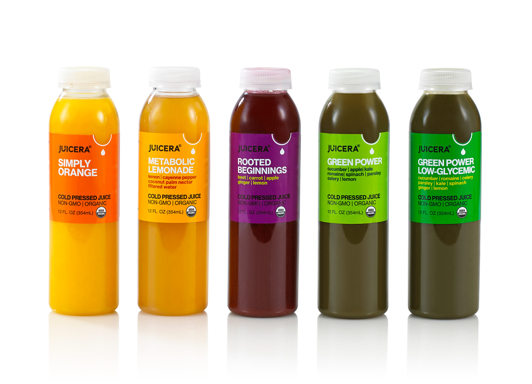 Juicera food package design showcasing 5 different flavors in a row with bottle labels in yellow, purple, and green.