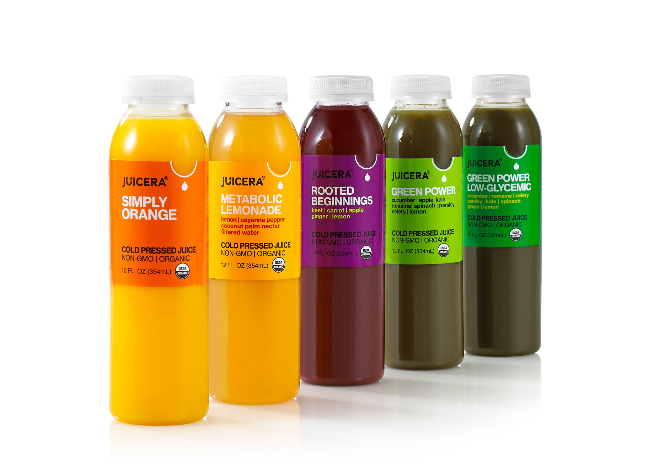 Juicera food package design showing 5 different flavors in an angled row with bottle labels in yellow, purple, and green.