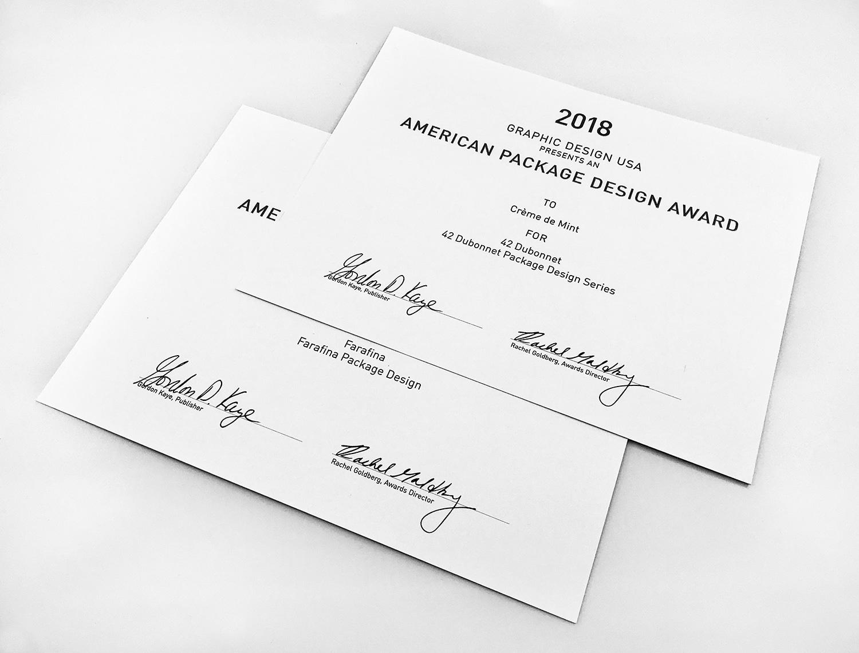 GD USA Package Design Awards for 42 Dubonnet & Farafina